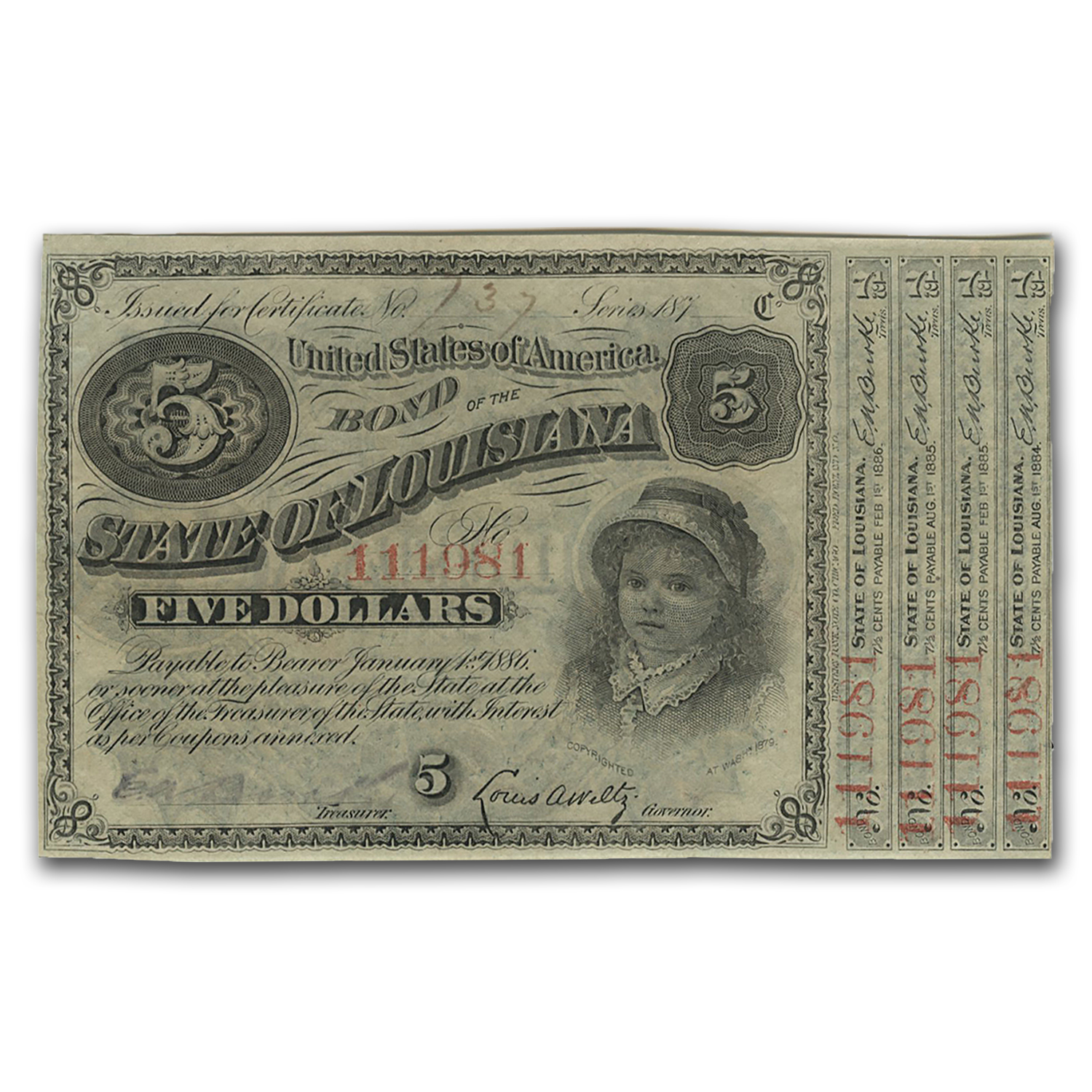 187_ State of Louisiana 'Baby Bond' $5.00 CU (CR#29)
