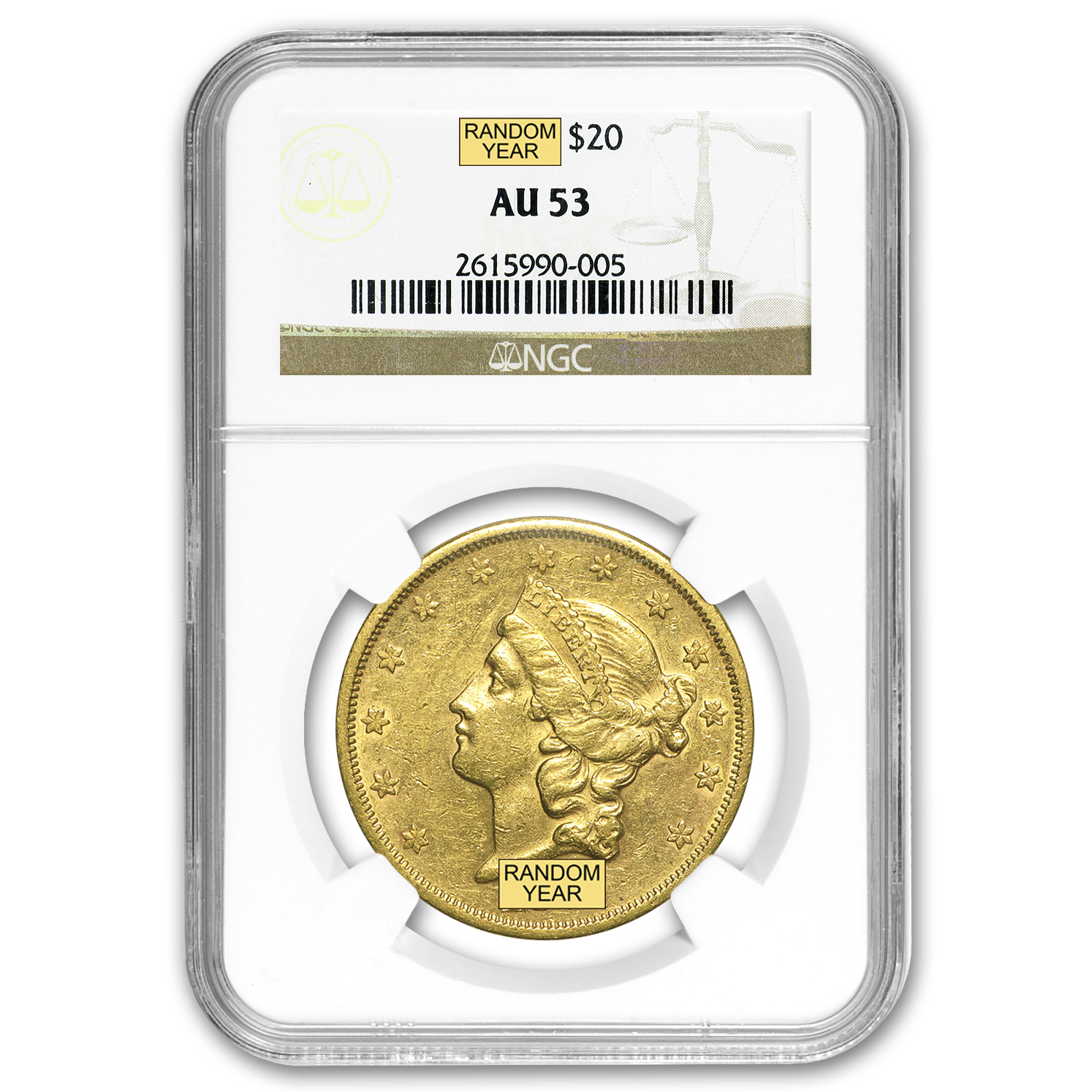1866-1876 $20 Liberty Gold Double Eagle Type 2 AU NGC/PCGS