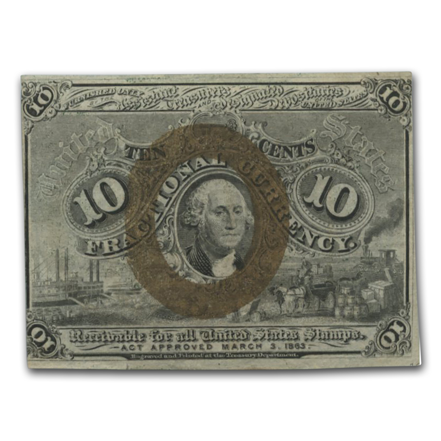 2nd Issue Fractional Currency 10 Cents CU (Misalignment)