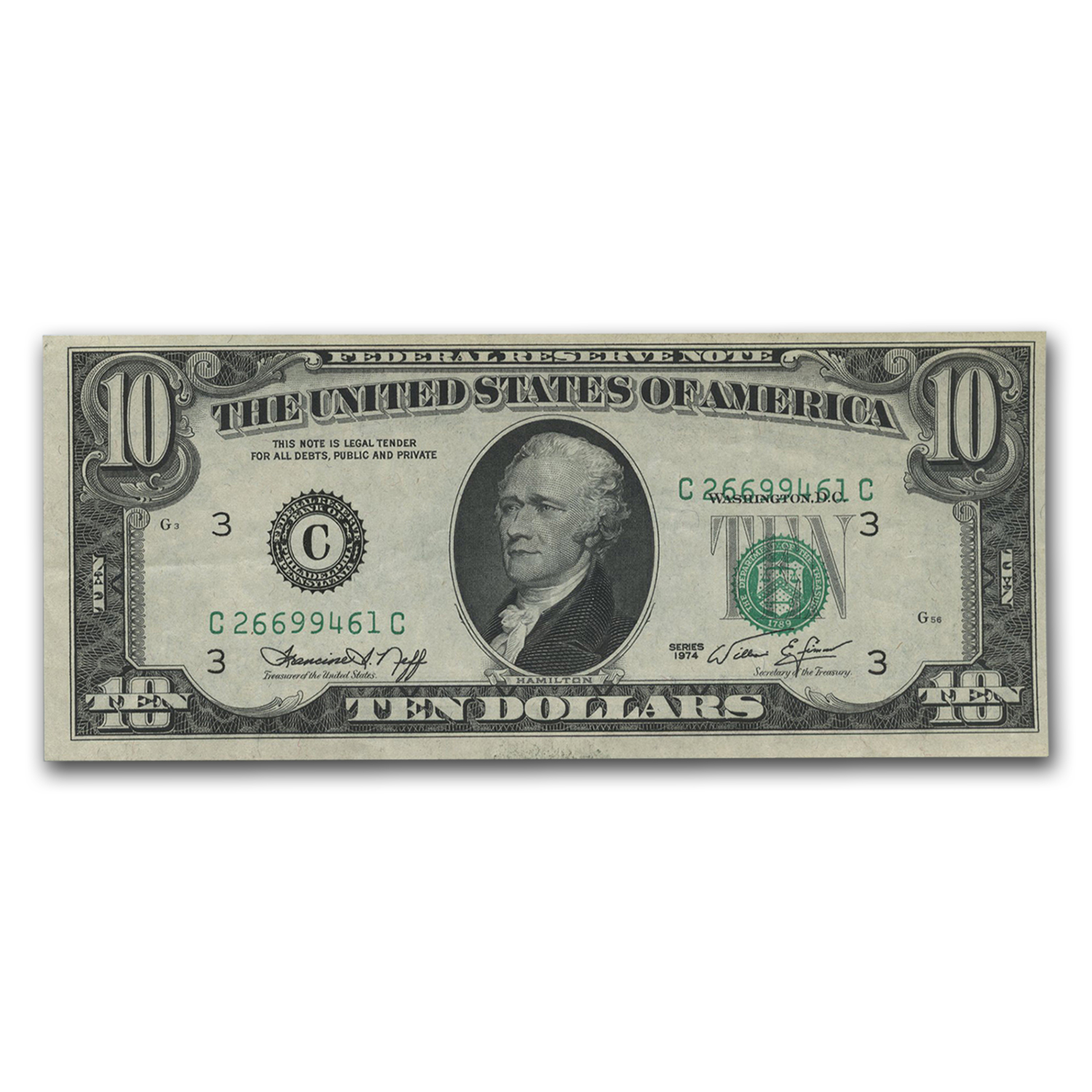 1974 (C-Philadelphia) $10 FRN (Printing Shift)