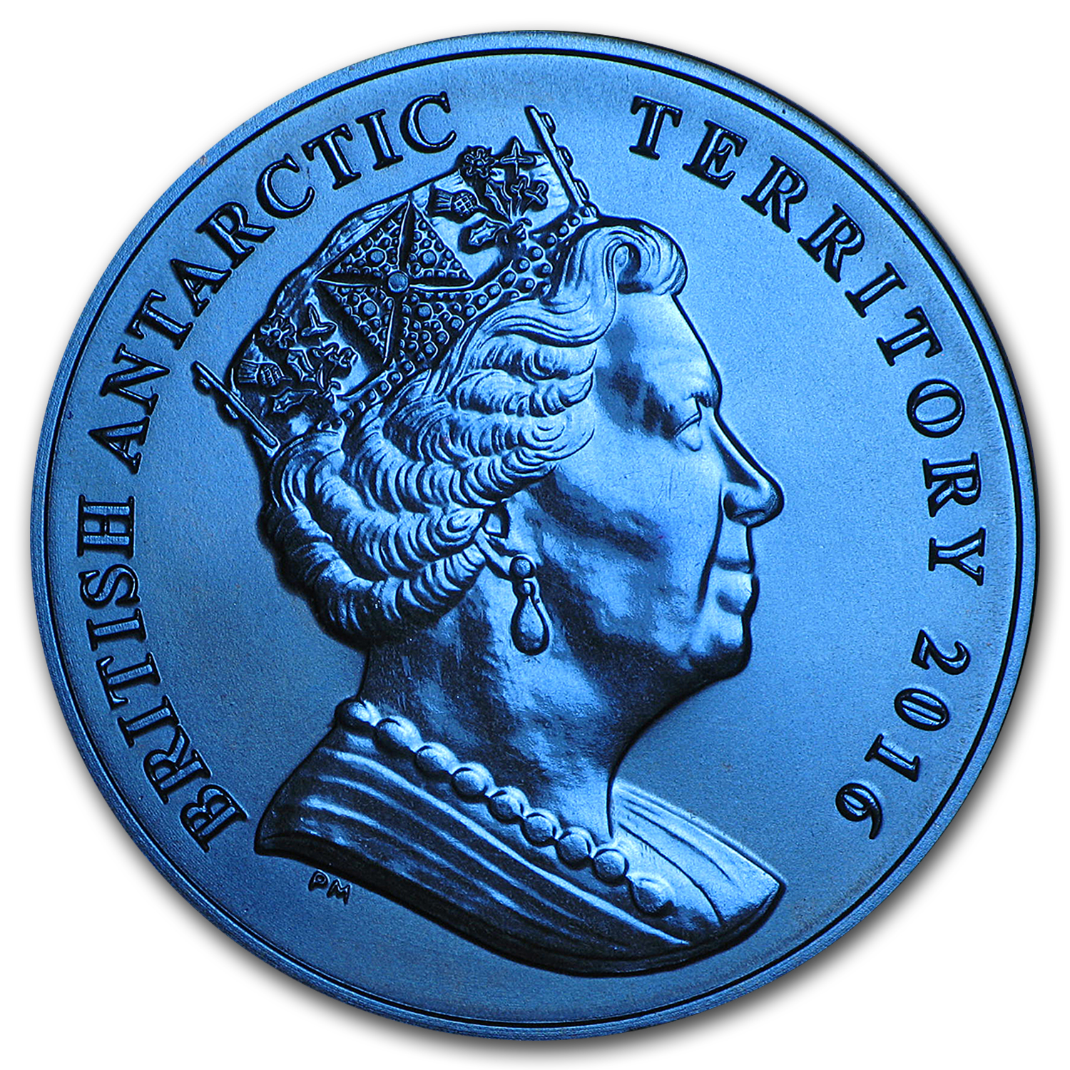 2016 British Antarctic Territory Blue Titanium £2 Penguin Proof