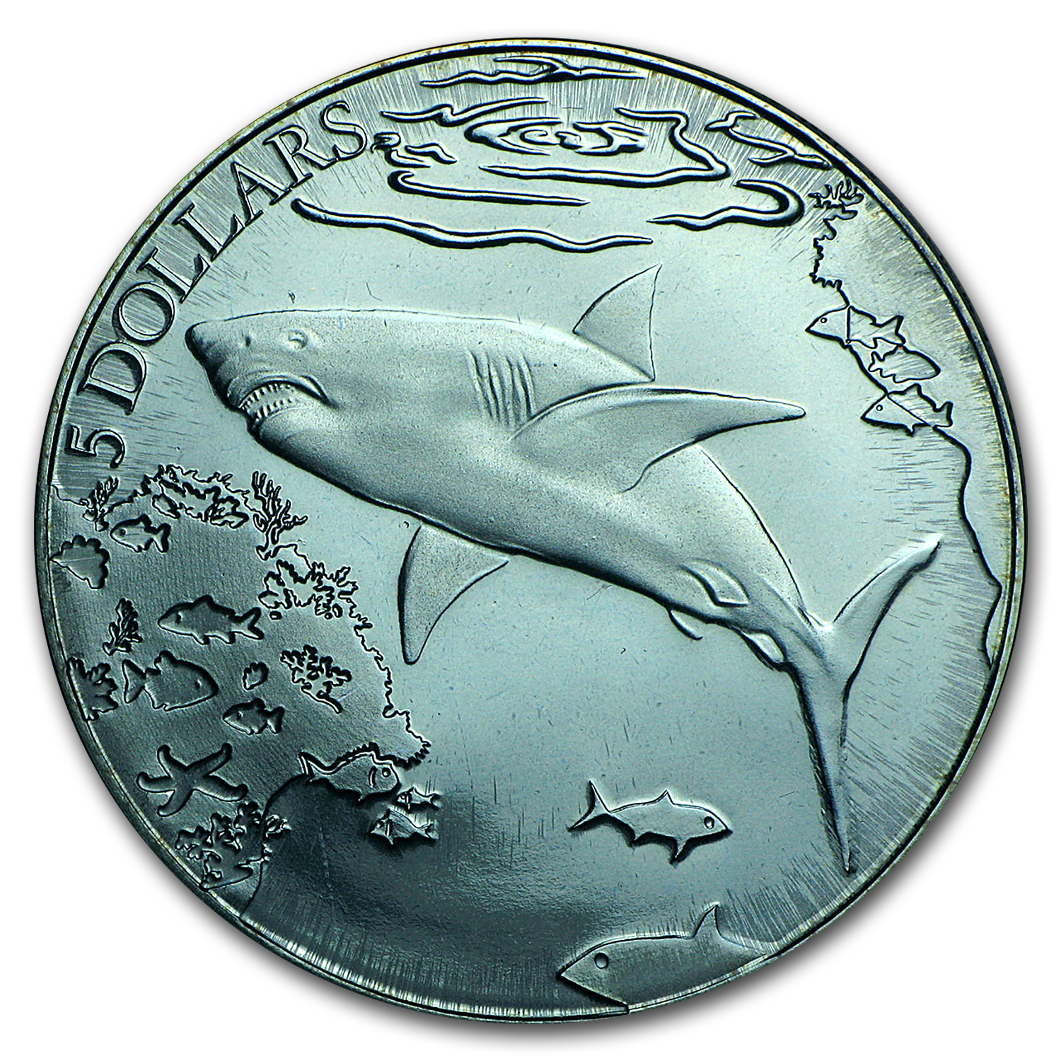 2016 BVI Turquoise Titanium $5 Great White Shark Proof
