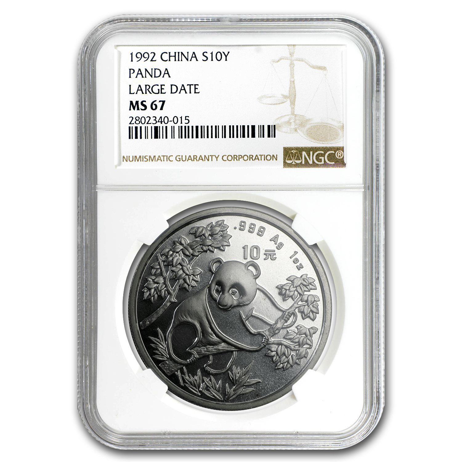 1992 China 1 oz Silver Panda MS-67 NGC (Large Date)