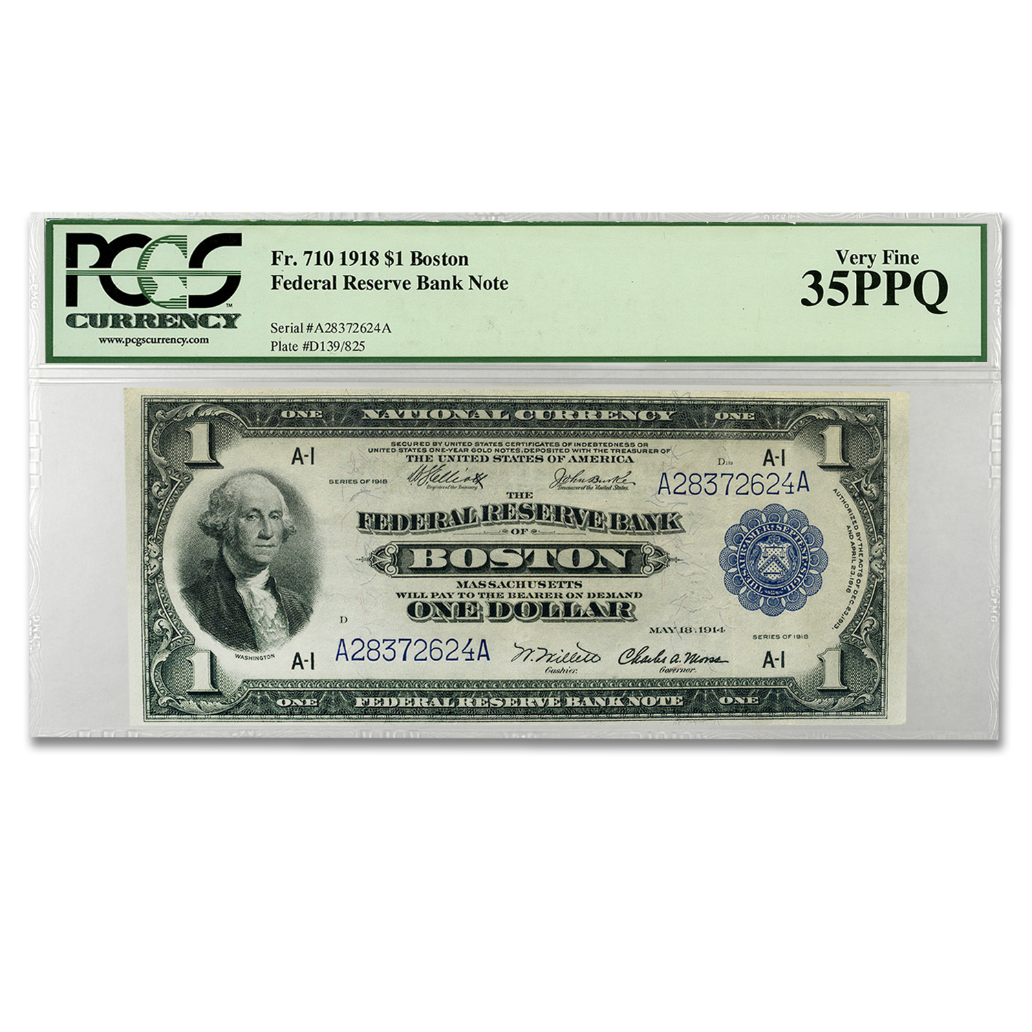 1918 (A-Boston) $1.00 FRBN VF-35 PCGS PPQ