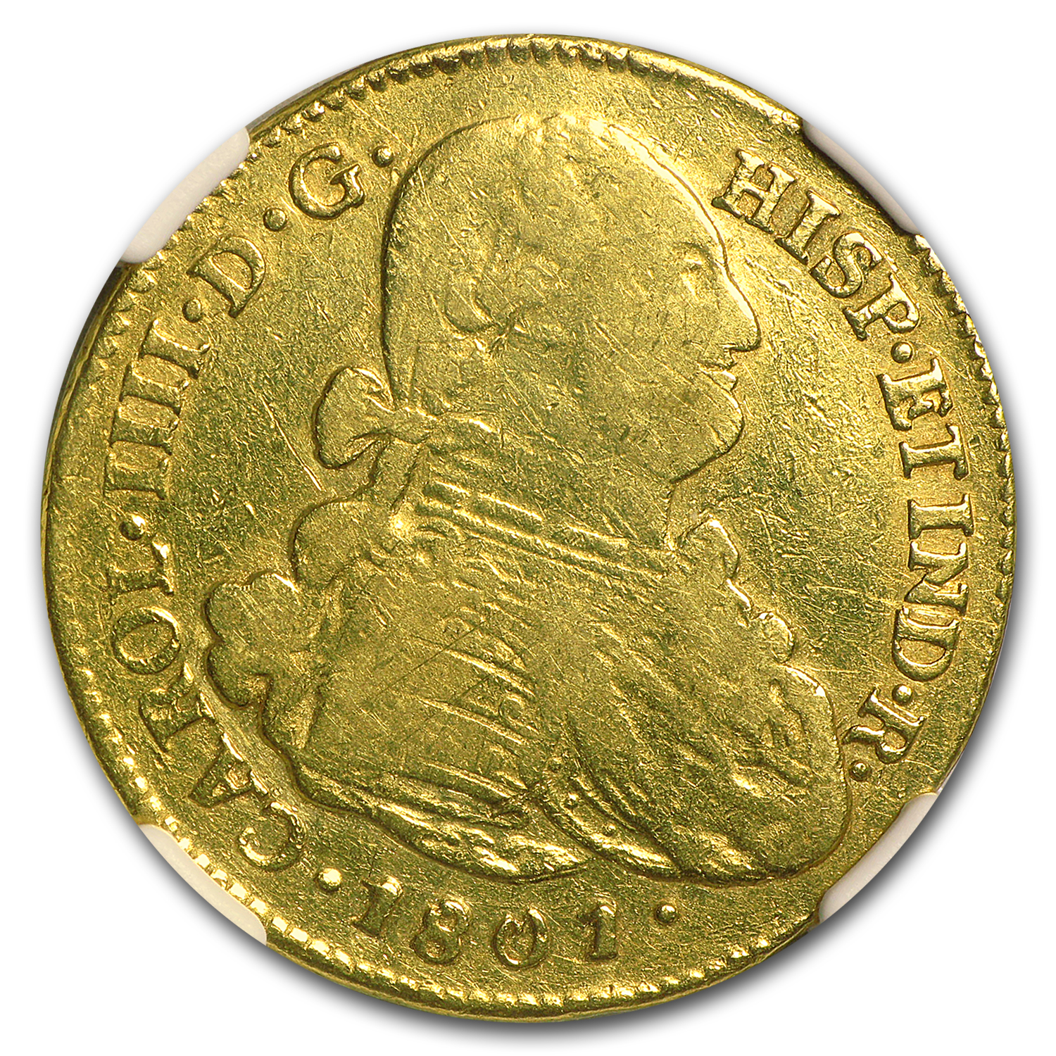 1801 P-JF Colombia Gold 4 Escudo Carol IIII VF-20 NGC