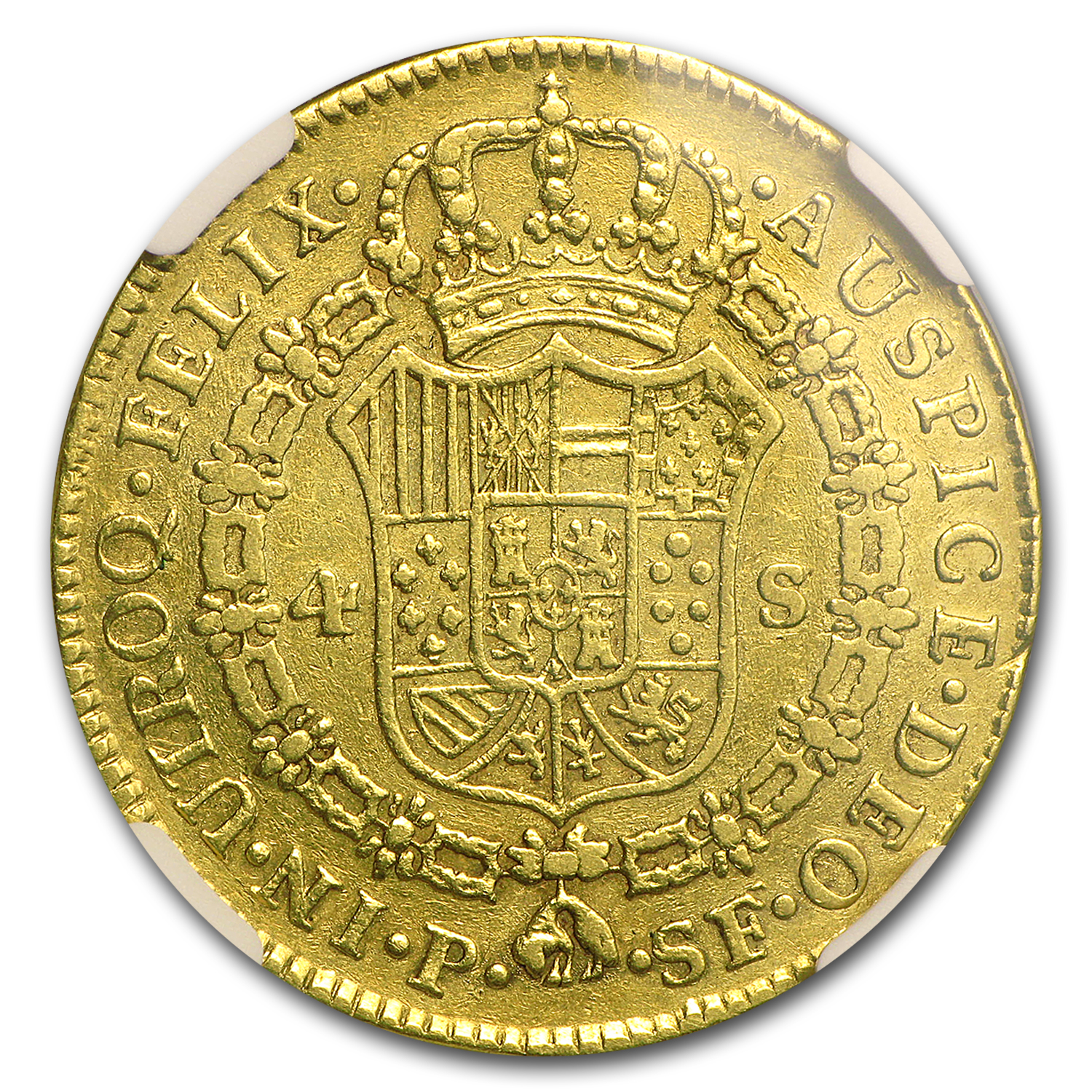 1779 P-SF Colombia Gold 4 Escudo Charles III F-12 NGC