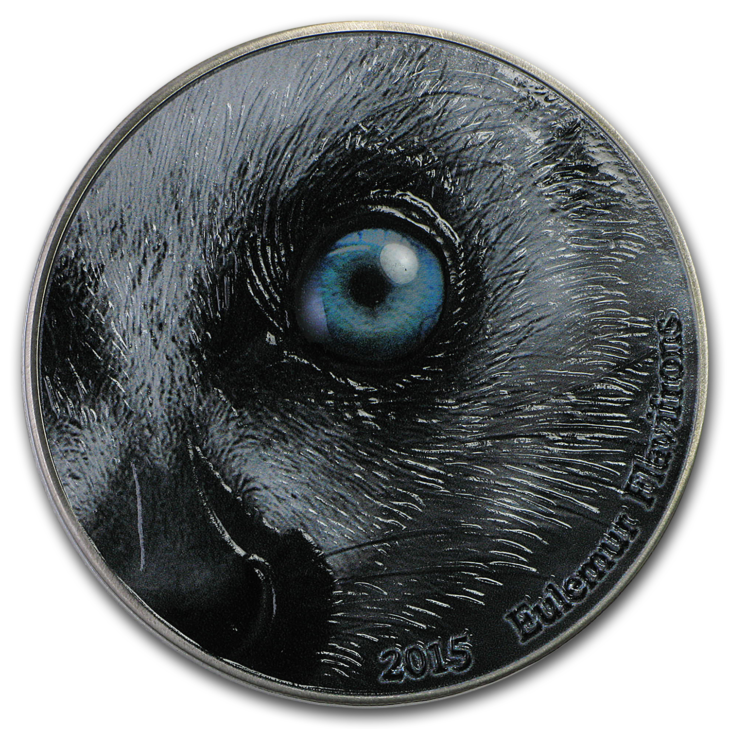 2015 Congo 2 oz Silver Nature's Eyes Black Lemur