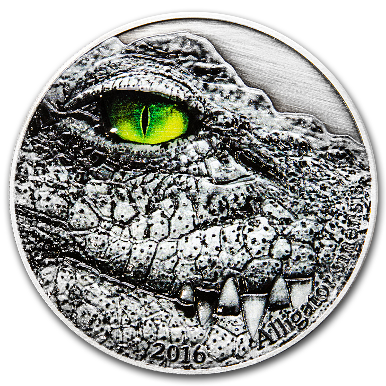 2016 Congo 2 oz Silver Nature's Eyes Chinese Alligator