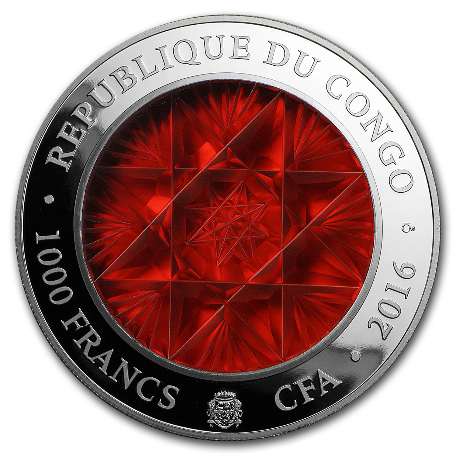 2016 Republic of Congo 2 oz Silver Proof Bohemian Glass Coin