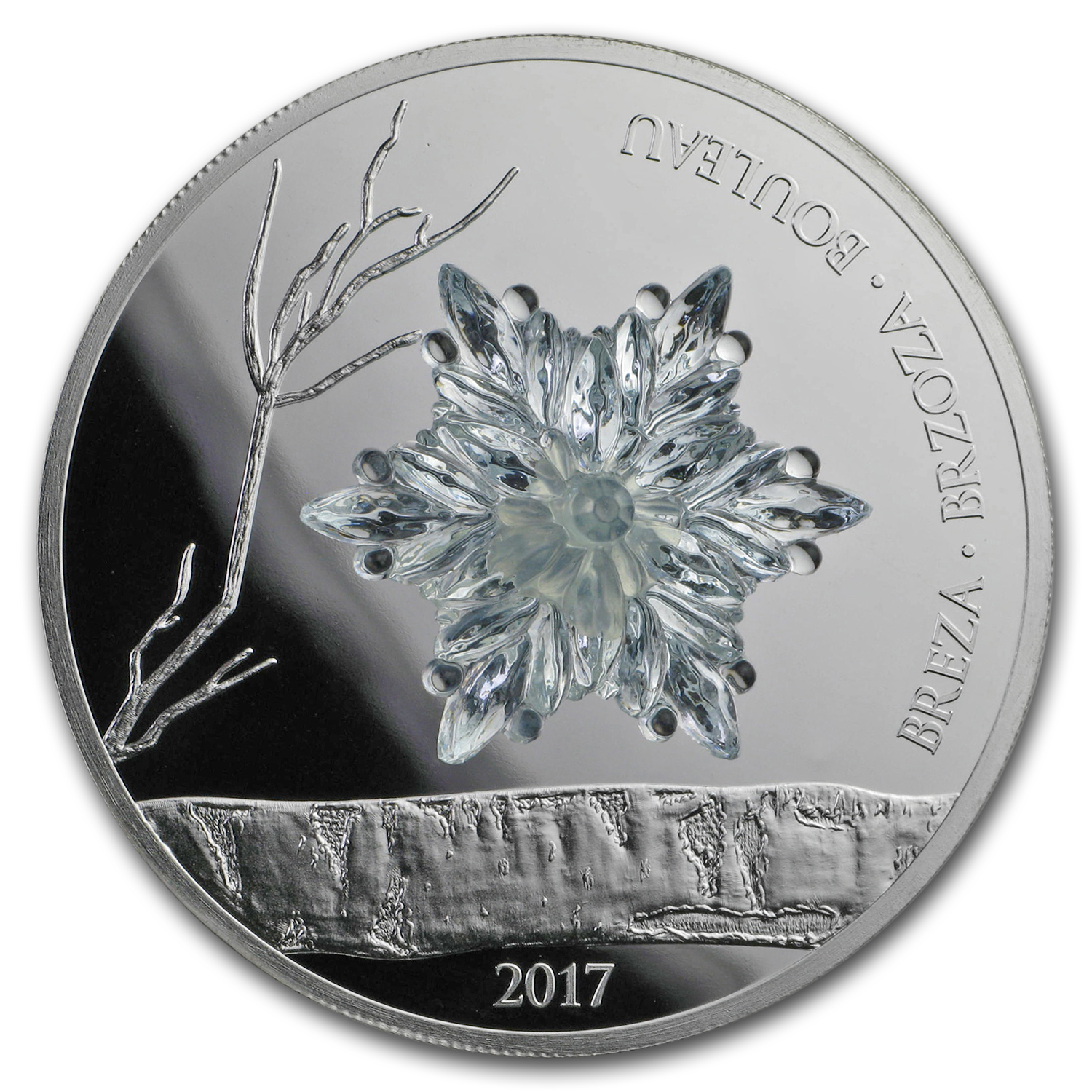 2017 Guinea Silver Proof Bohemian Glass Birch Leaf (Winter)