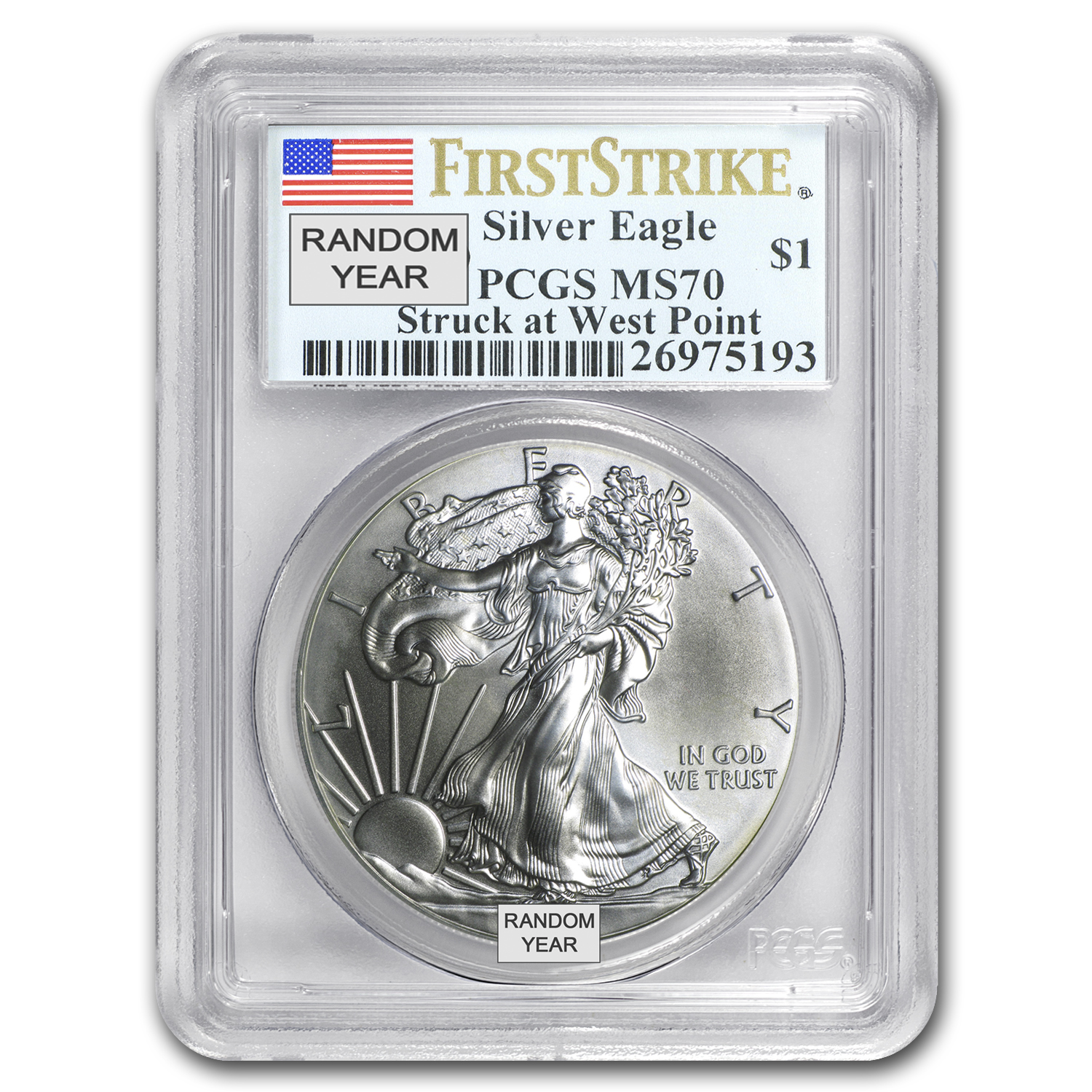1986-2016 Silver Eagle MS-70 NGC/PCGS (Random Year, Spotted)