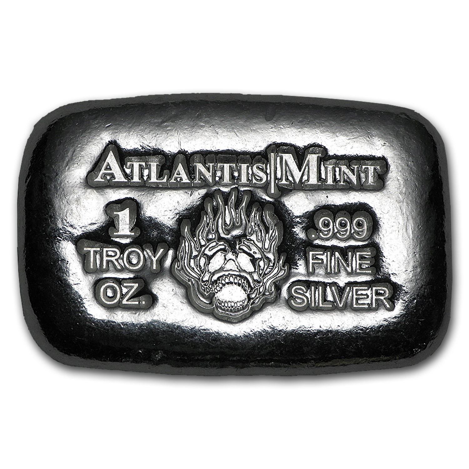 1 oz Silver Bar - Atlantis Mint (Skull & Flames)