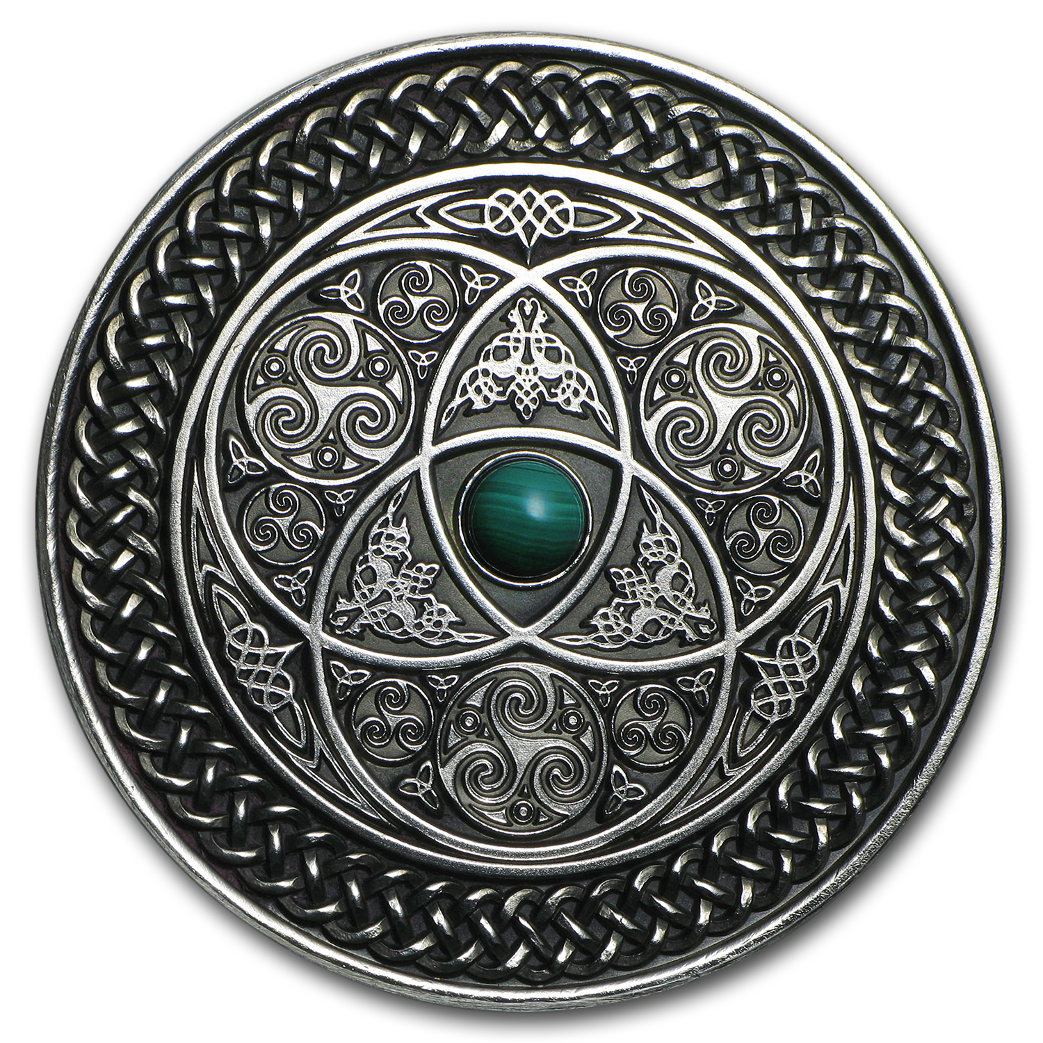 2016 Fiji 3 oz UHR Antique Finish Silver $10 Mandala Art (Celtic)