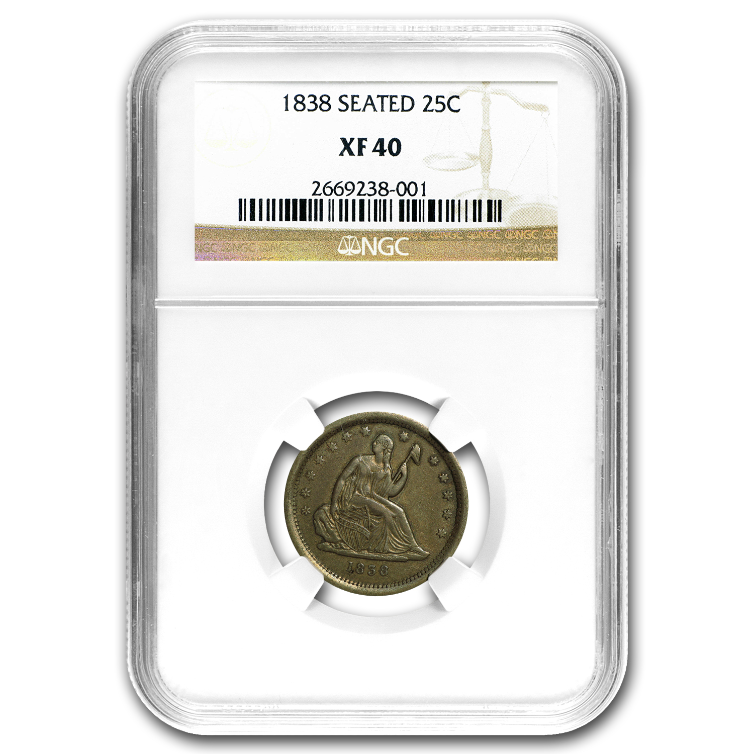 1838 Liberty Seated Quarter XF-40 NGC
