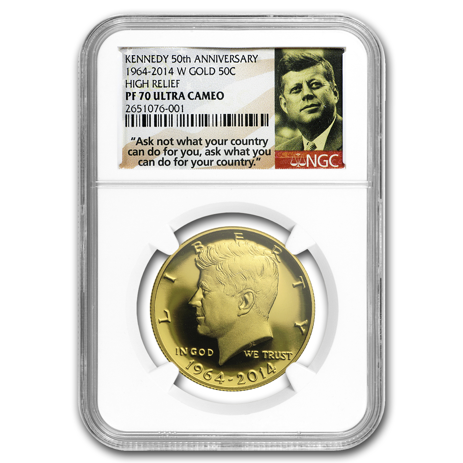 2014-W 3/4 oz Gold Kennedy Half Dollar Commem PF-70 NGC