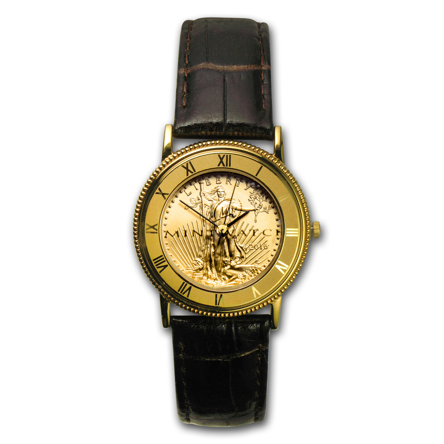 2016 1/10 oz Gold American Eagle Leather Band Watch