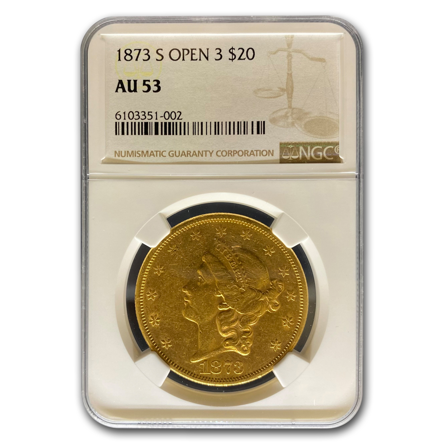 1873-S $20 Liberty Gold Double Eagle Open 3 AU-53 NGC
