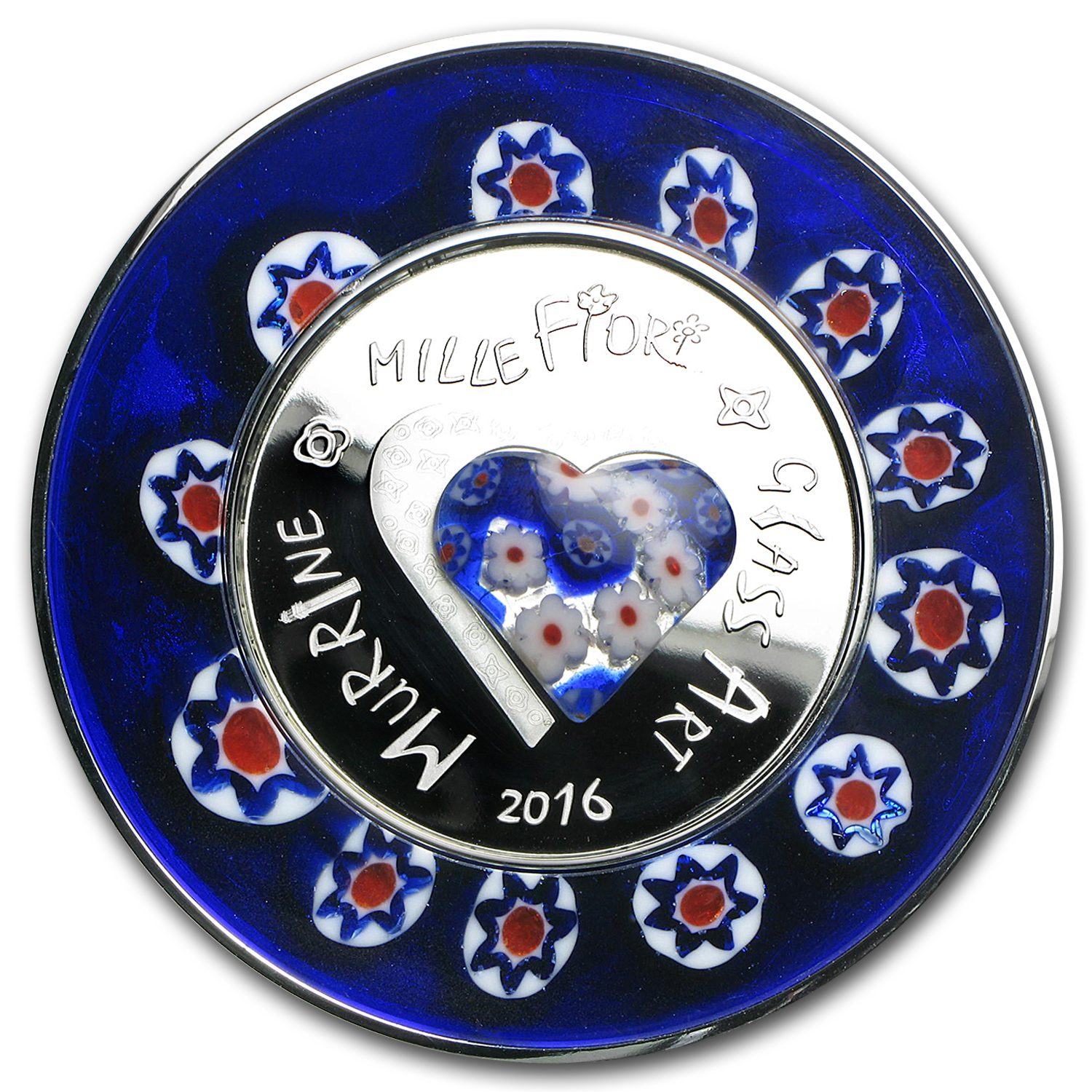 2016 Cook Islands Silver Murrine Millefiori Glass Art
