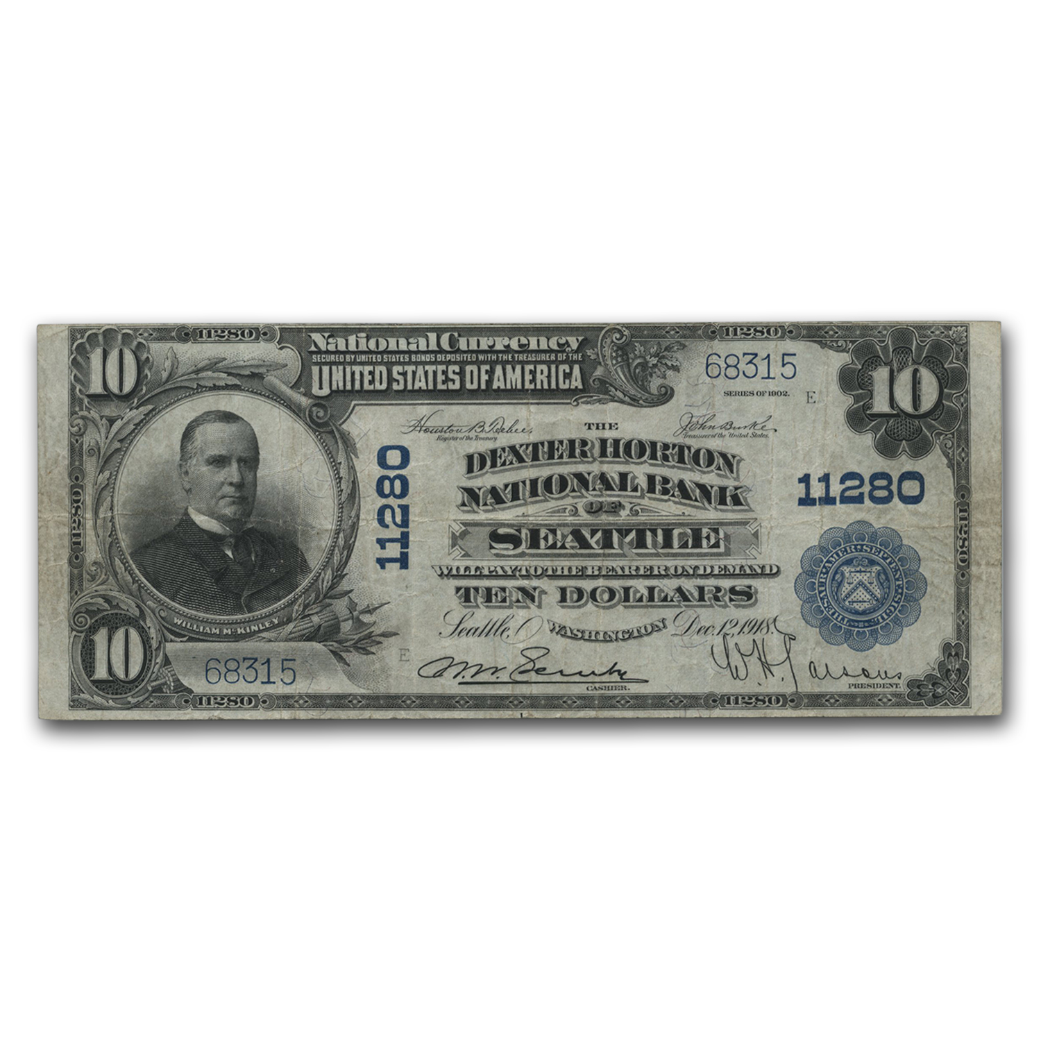 1902 Plain Back $10 Seattle, WA VF (CH#11280)