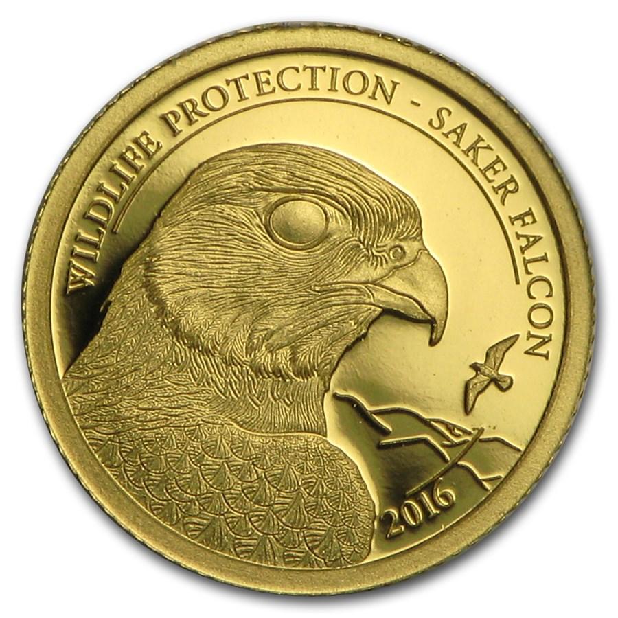 2016 Mongolia 1 2 Gram Proof Gold Wildlife Saker Falcon