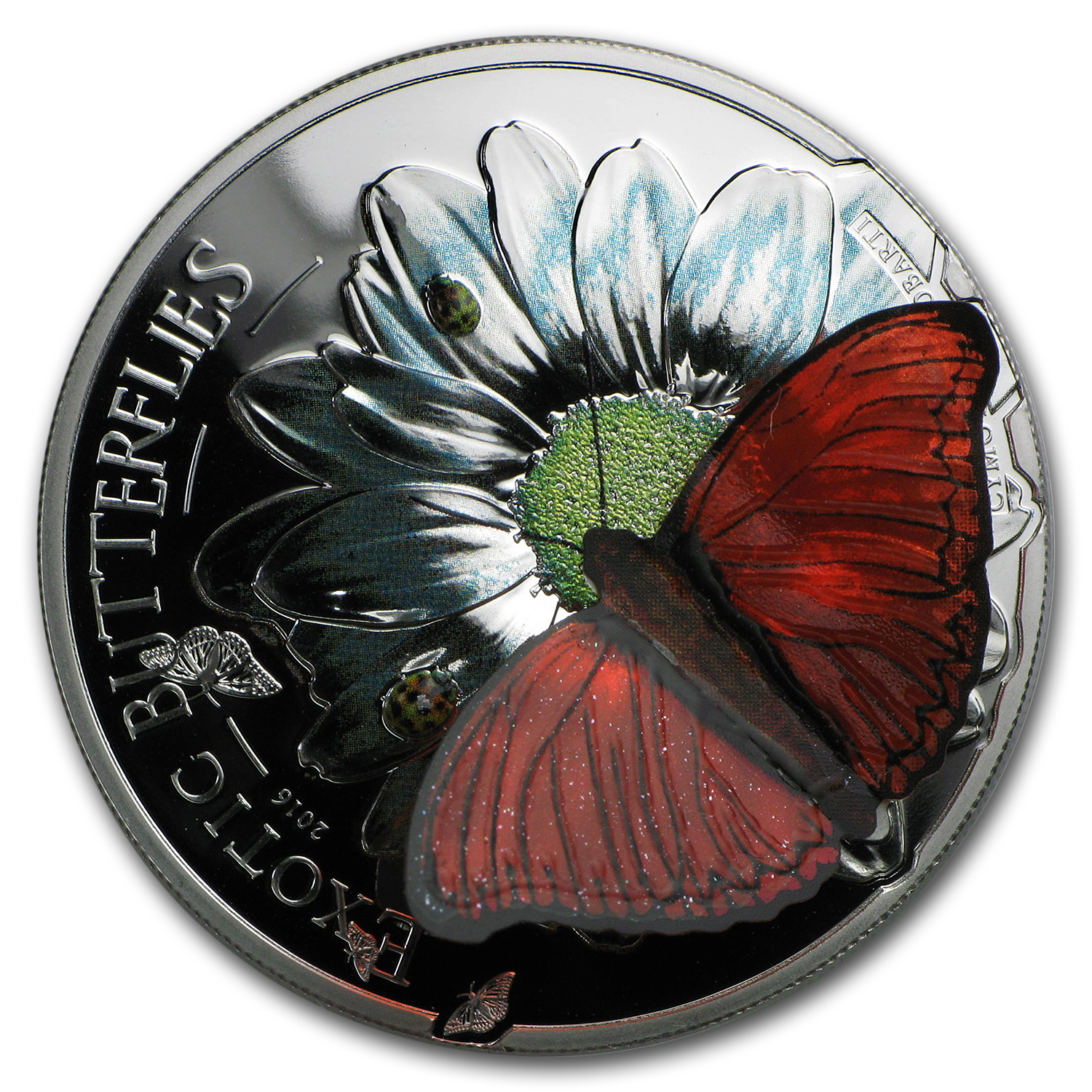 2016 Tanzania Silver 3D Exotic Butterflies Proof