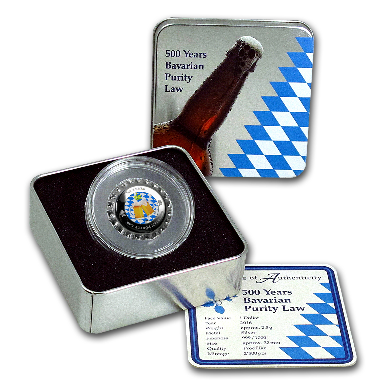 2016 Palau Silver $10 500 Years Bavarian Purity Laws