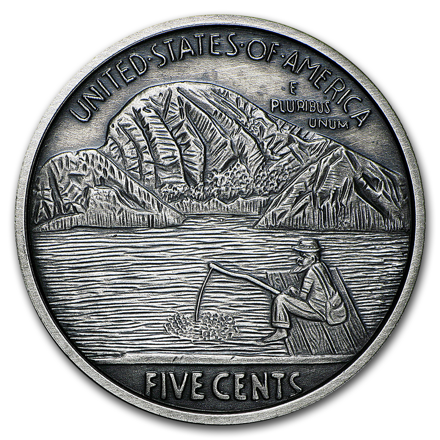 1 oz Silver Antique Round - Hobo Nickel Replica (The Fisherman)