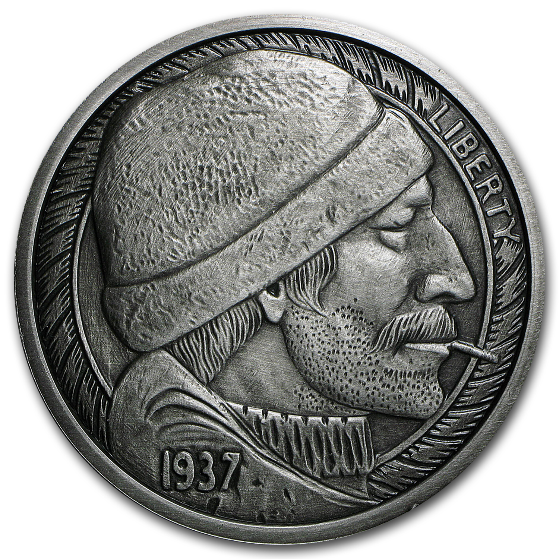 5 Oz Silver Antique Round Hobo Nickel Replica The