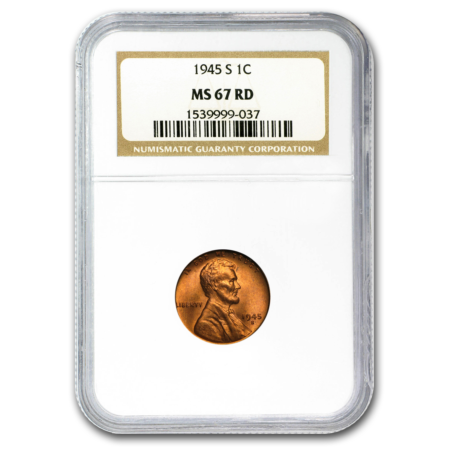 1945-S Lincoln Cent MS-67 NGC (Red)