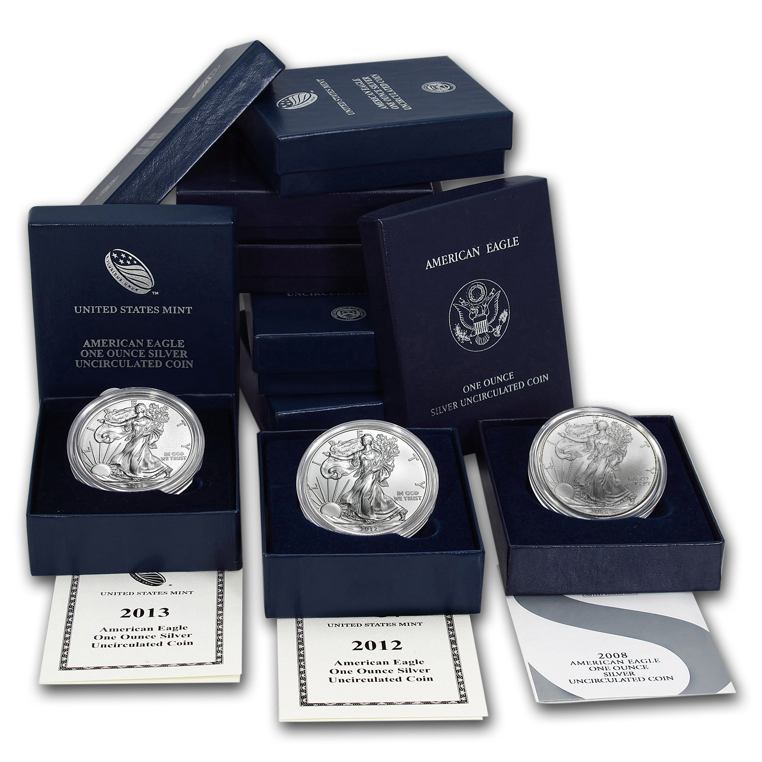 2006-2015 8-Coin Burnished Silver Eagle Set (w/Box & COA)