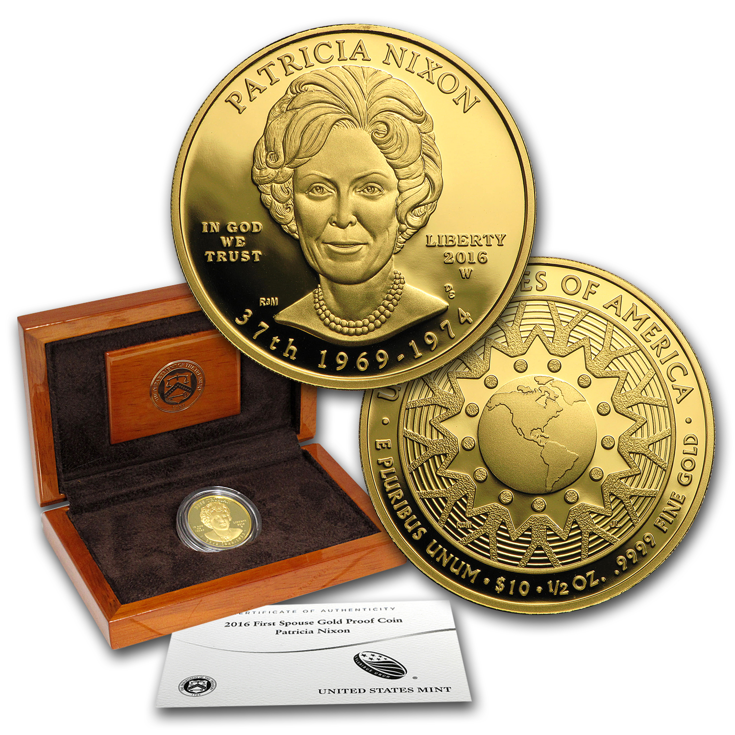 2016-W 1/2 oz Proof Gold Patricia Nixon (w/Box & COA)