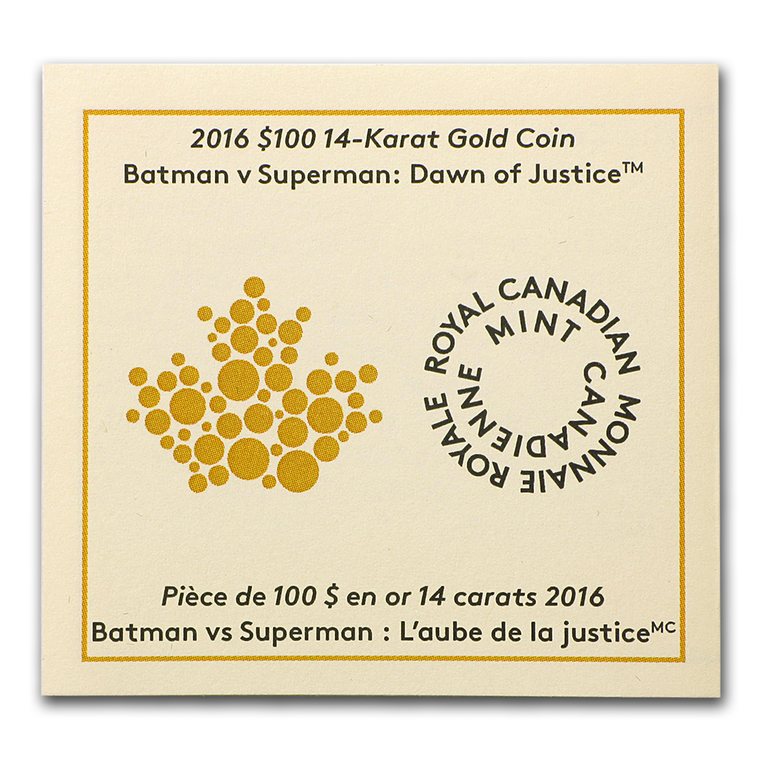 2016 Canada Proof Gold $100 Batman v Superman: Dawn of Justice