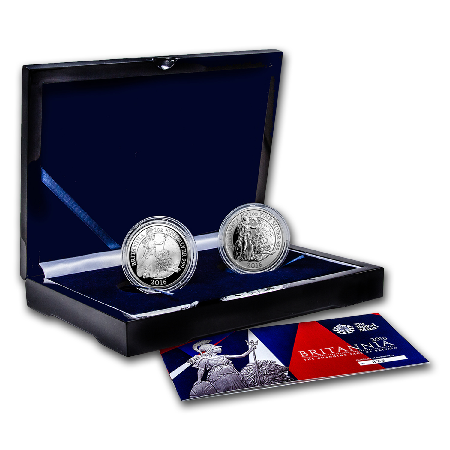 2016 2-Coin Silver 1 oz Britannia Proof/Reverse Proof Set