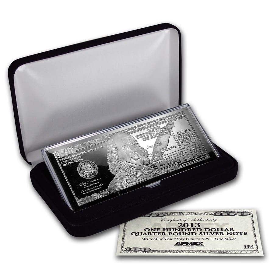 4 oz Silver Bar - Random Year $100 Bill (W/Box & COA)