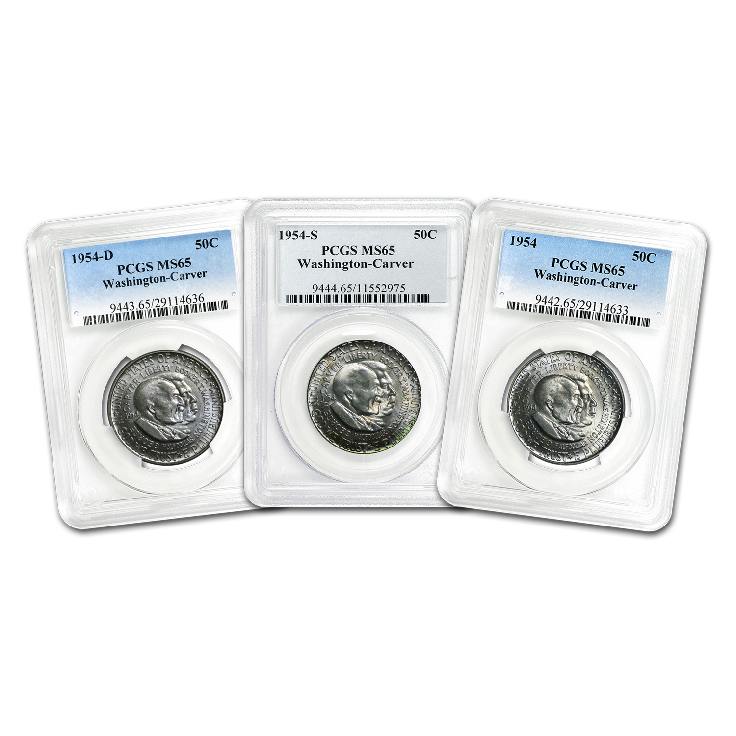 1954-P-D-S Washington-Carver Half Dollar Set MS-65 PCGS