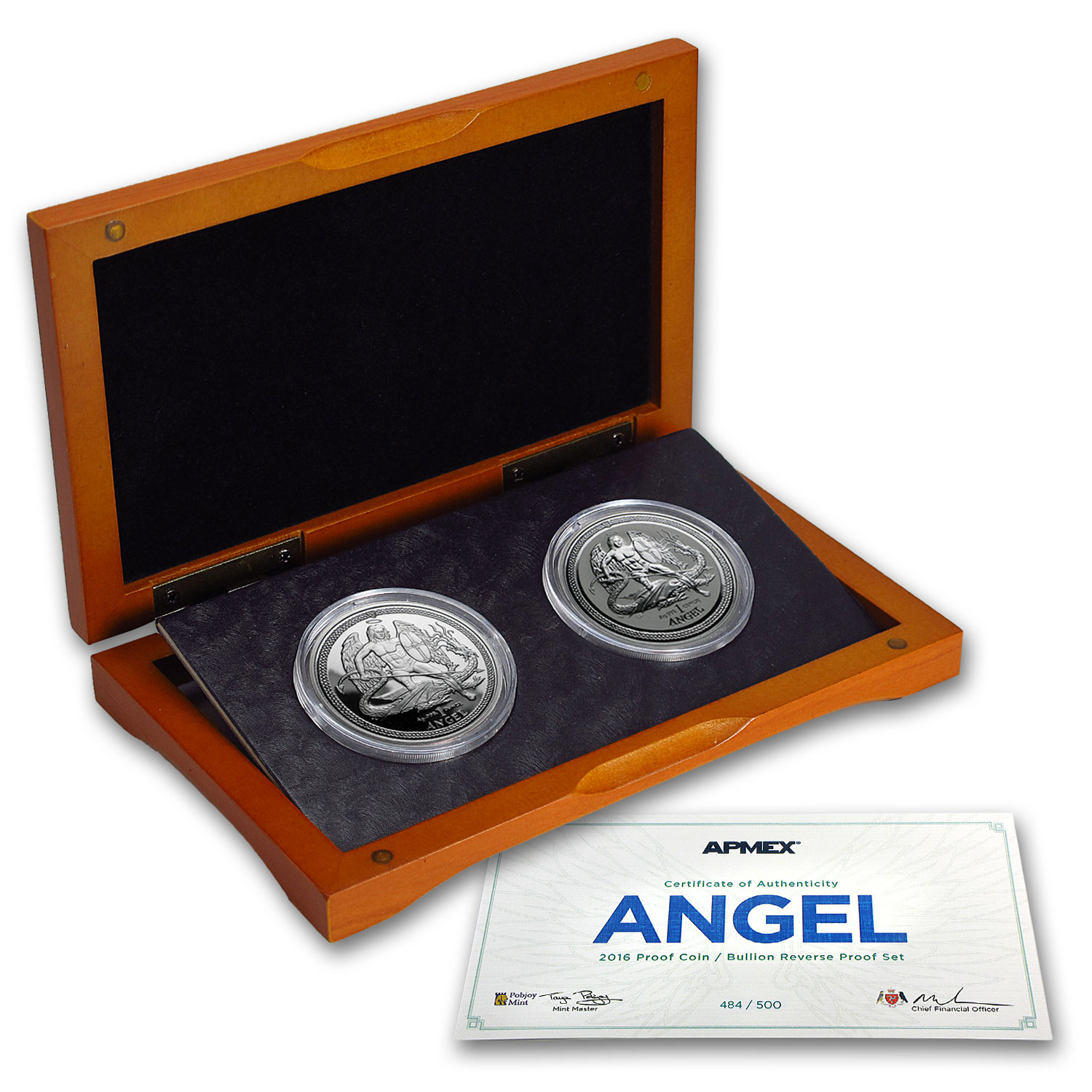 2016 Isle of Man 2-Coin Silver Angel Proof/Reverse Proof Set
