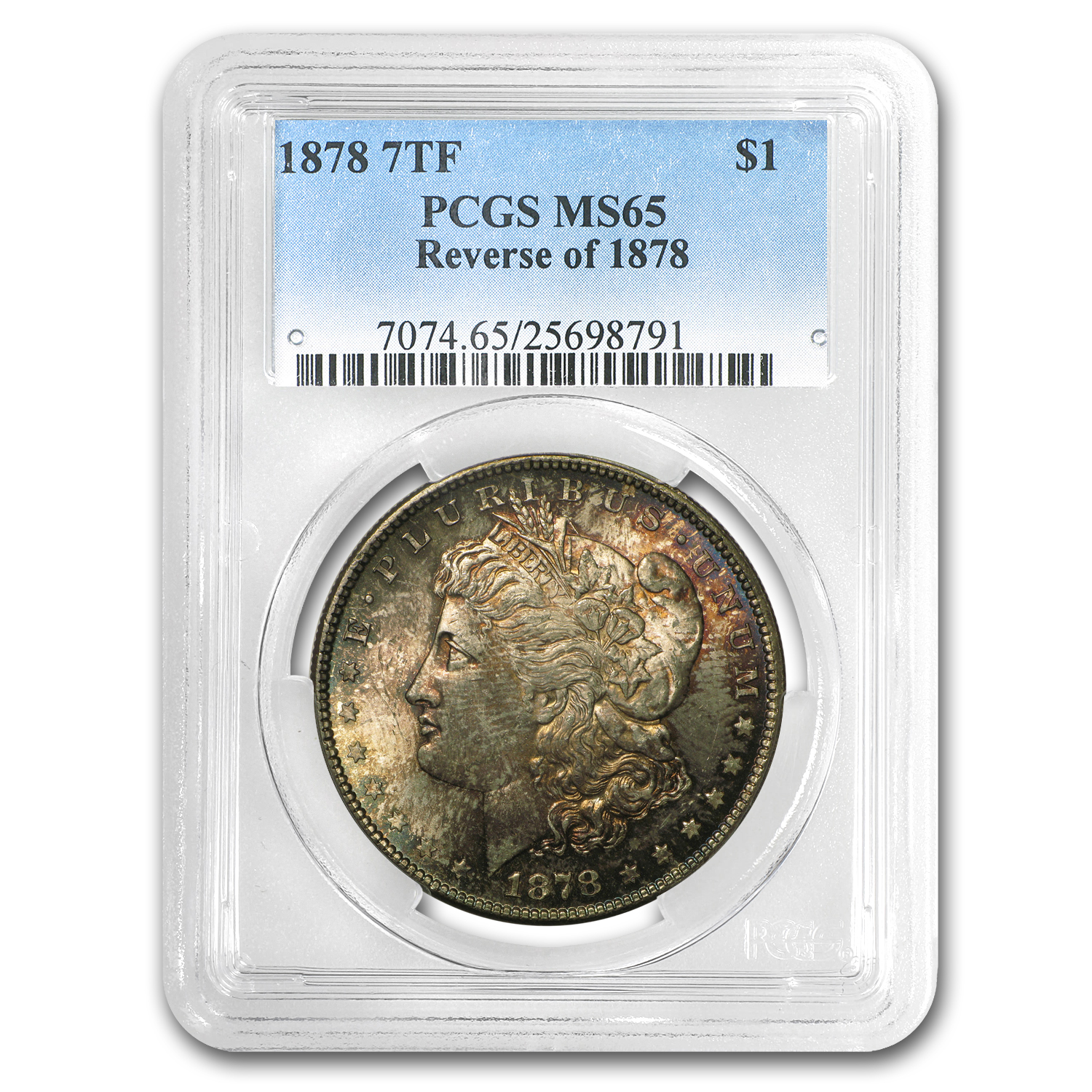 1878 Morgan Dollar 7 TF Rev of 78 MS-65 PCGS (Beautiful Toning)