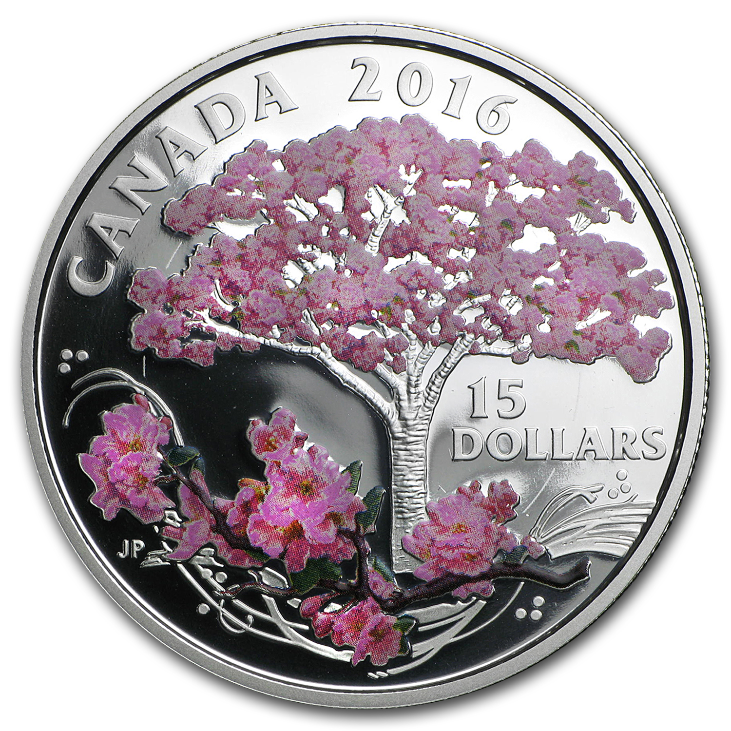 2016 Canada 3/4 oz Proof Silver $15 Cherry Blossoms