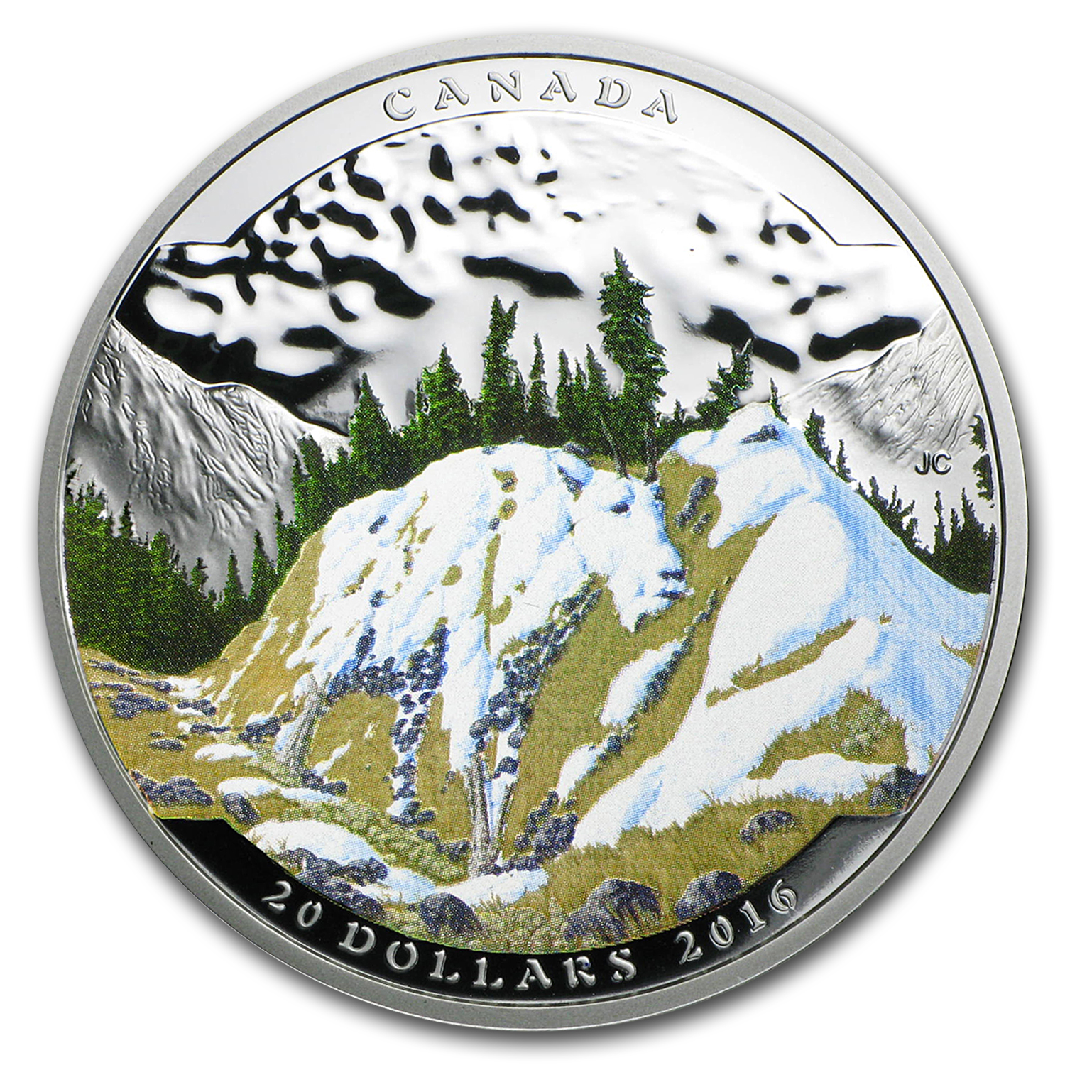 2016 Canada 1 oz Silver $20 Landscape Illusion: Mountain Goat