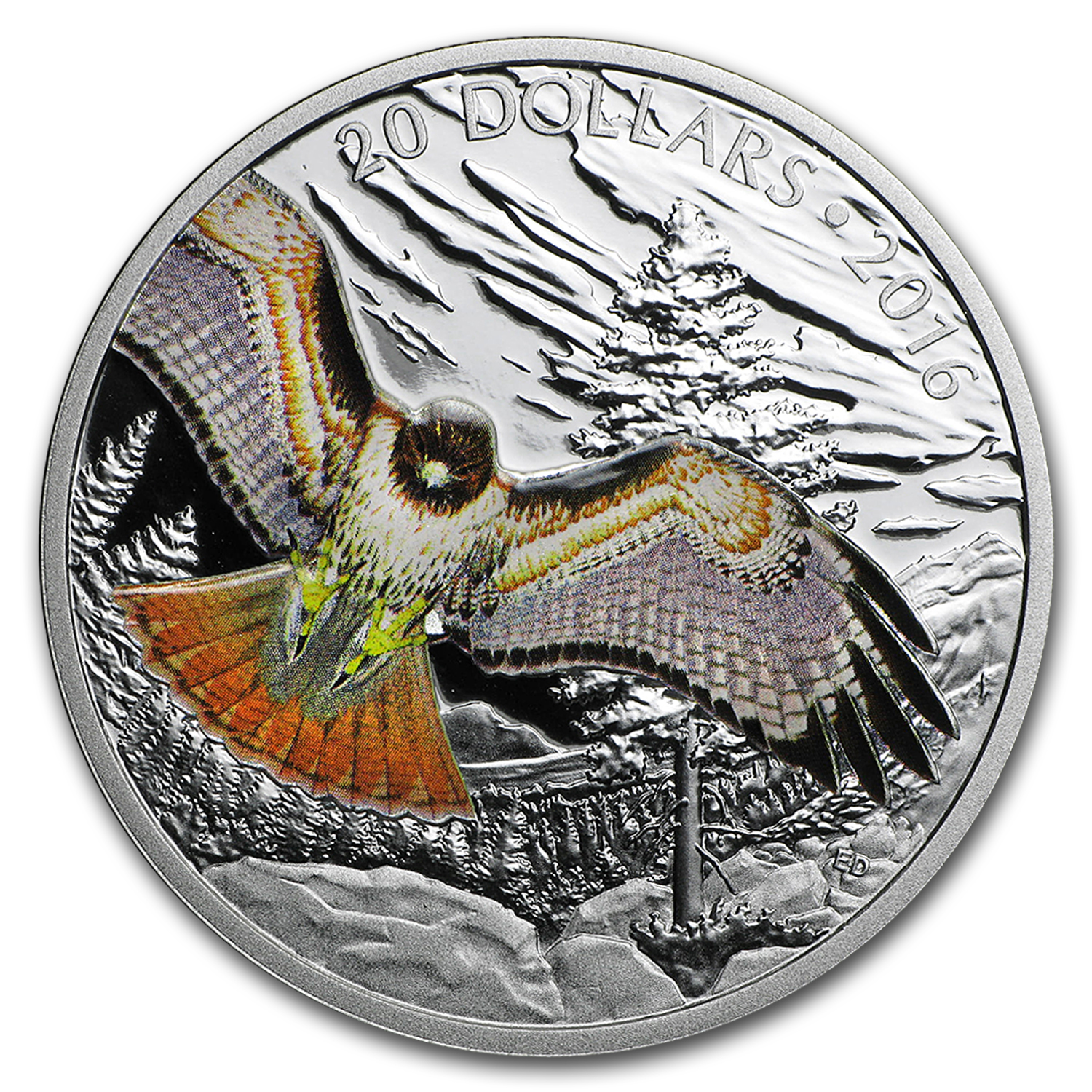 2016 Canada Proof 1 oz Silver $20 Red Tailed Hawk