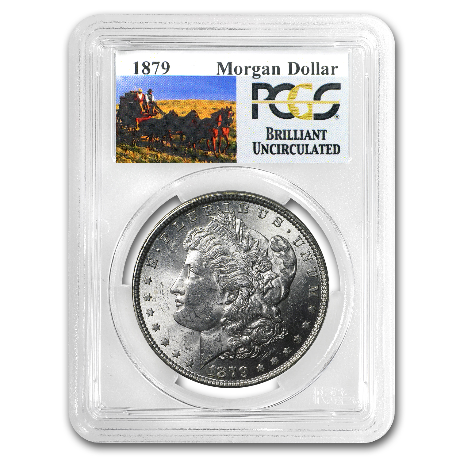 1879 Brilliant Uncirculated PCGS Stage Coach Silver Dollar