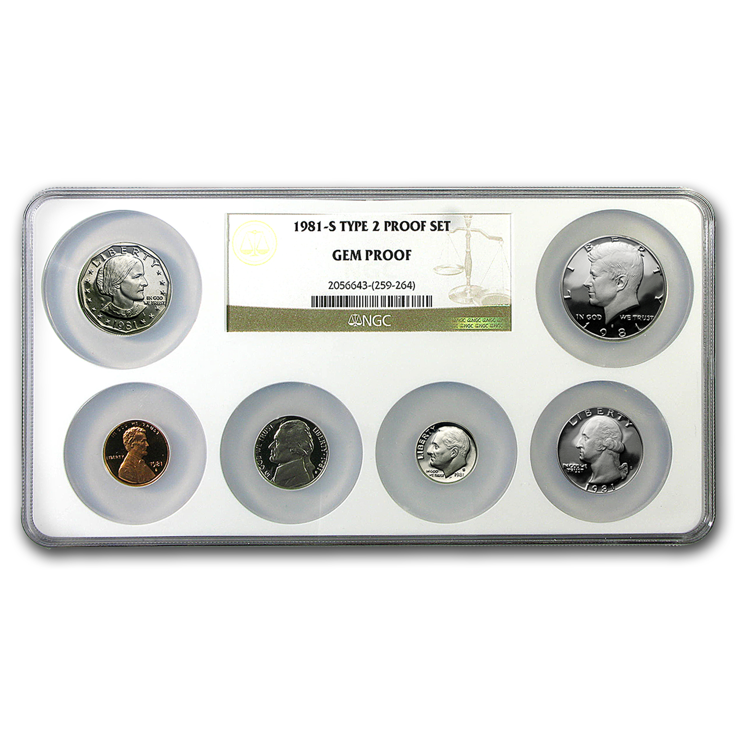 1981 U.S. Proof Set Gem Proof NGC (Type 2, Multicoin Holder)
