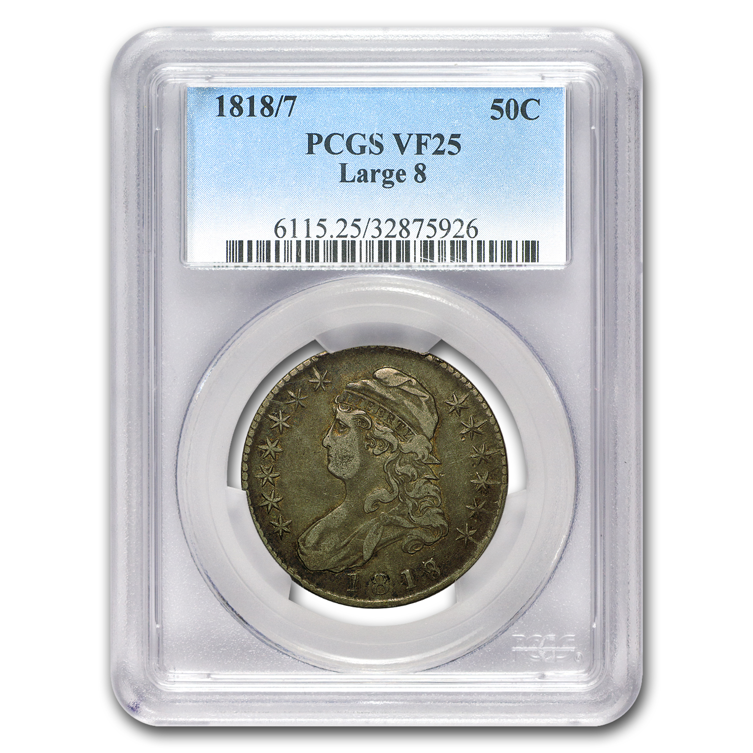 1818/7 Capped Bust Half Dollar VF-25 PCGS (Large 8)