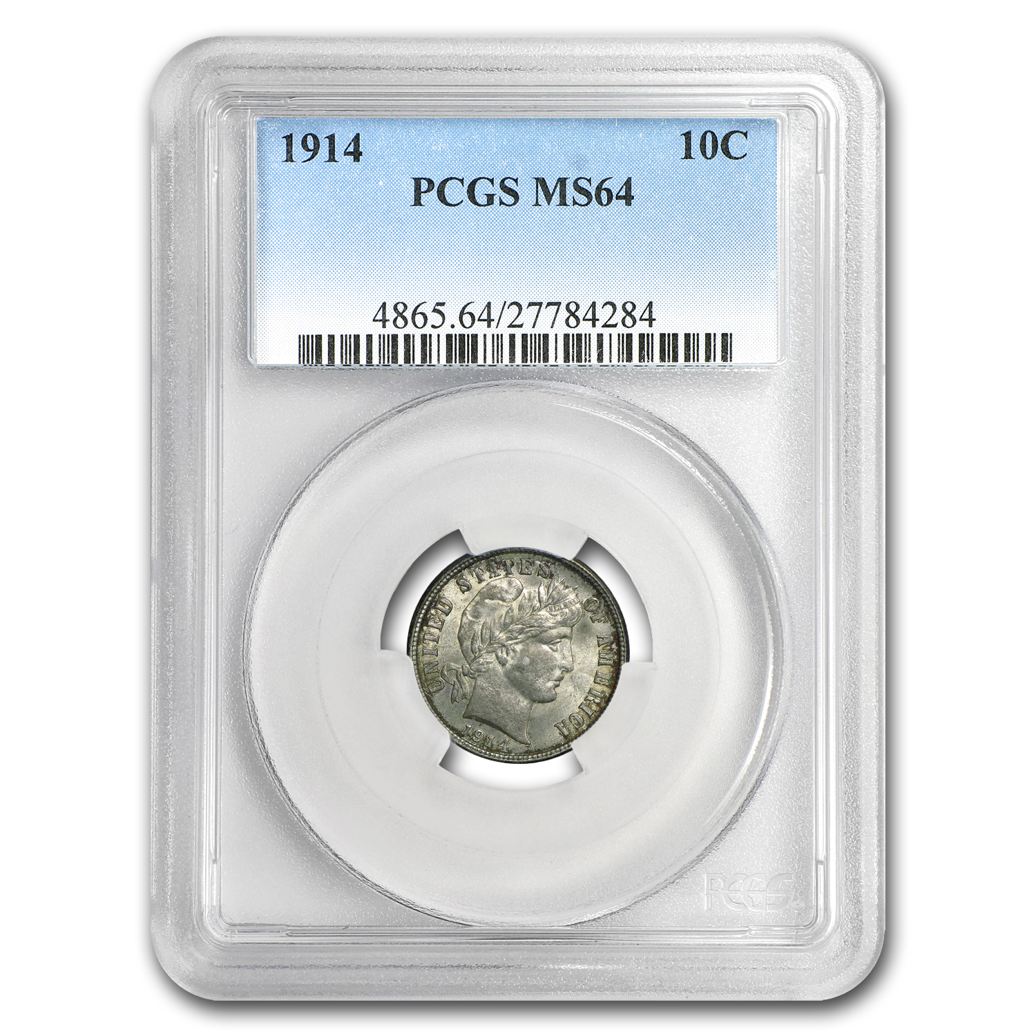 1914 Barber Dime MS-64 PCGS