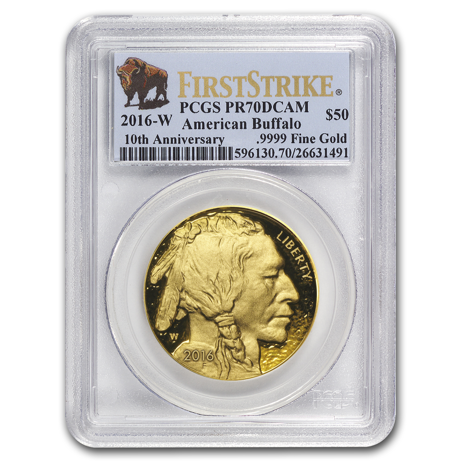 2016-W 1 oz Proof Gold Buffalo PR-70 PCGS (First Strike)
