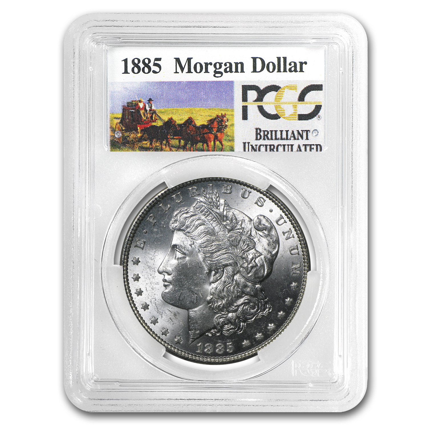 1885 Brilliant Uncirculated PCGS Stage Coach Silver Dollars