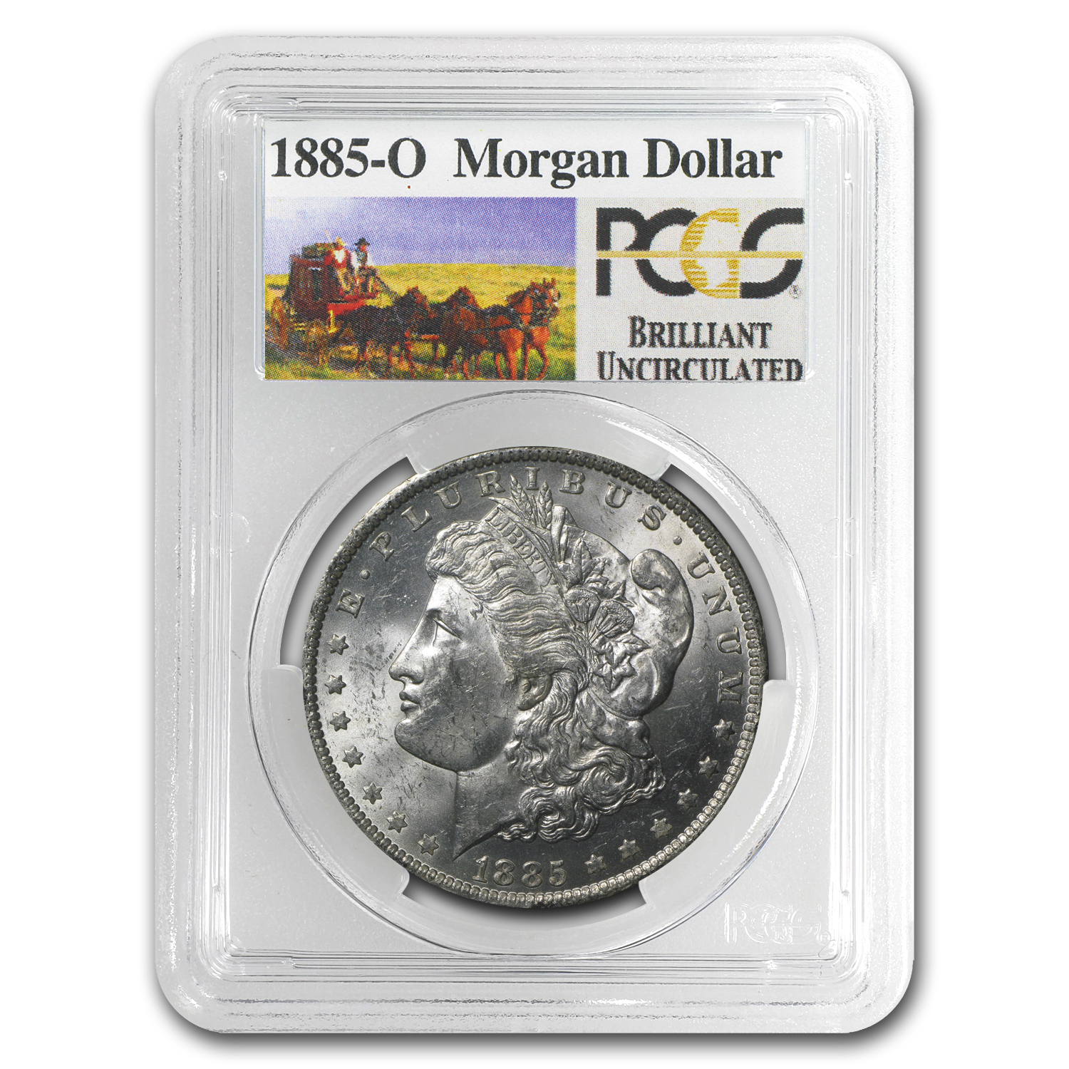 1885-O Brilliant Uncirculated PCGS Stage Coach Silver Dollars