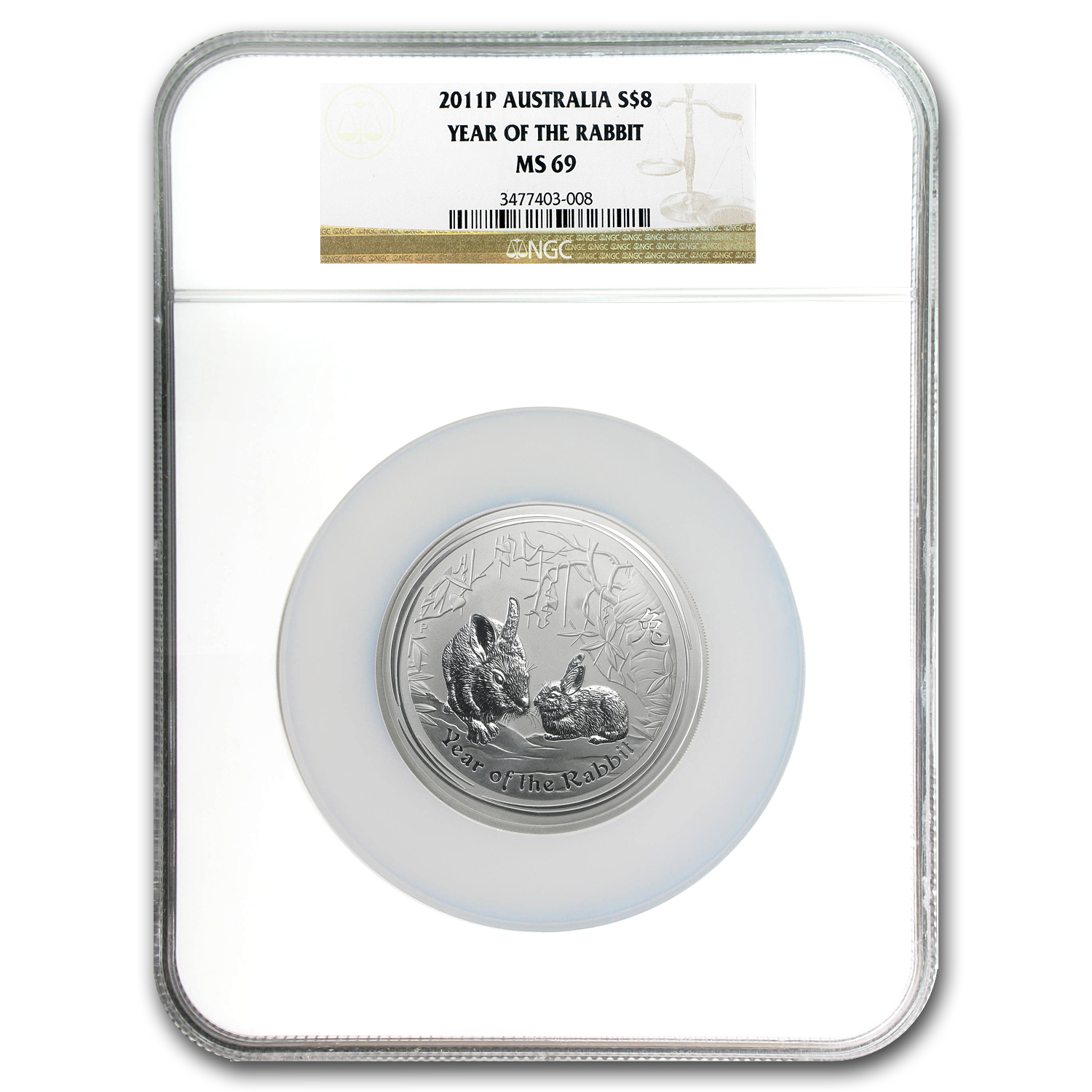 2011 Australia 5 oz Silver Year of the Rabbit MS-69 NGC