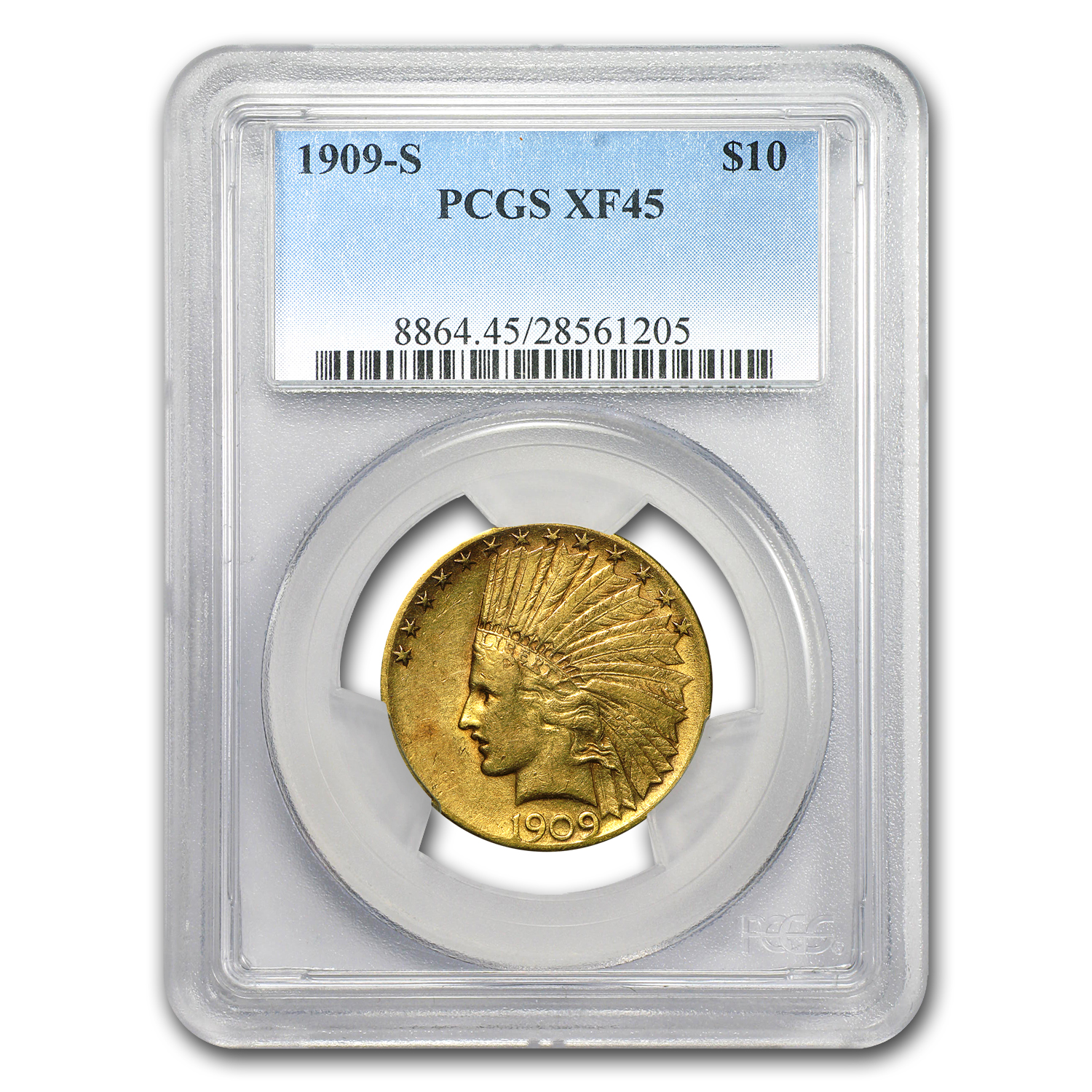 1909-S $10 Indian Gold Eagle XF-45 PCGS