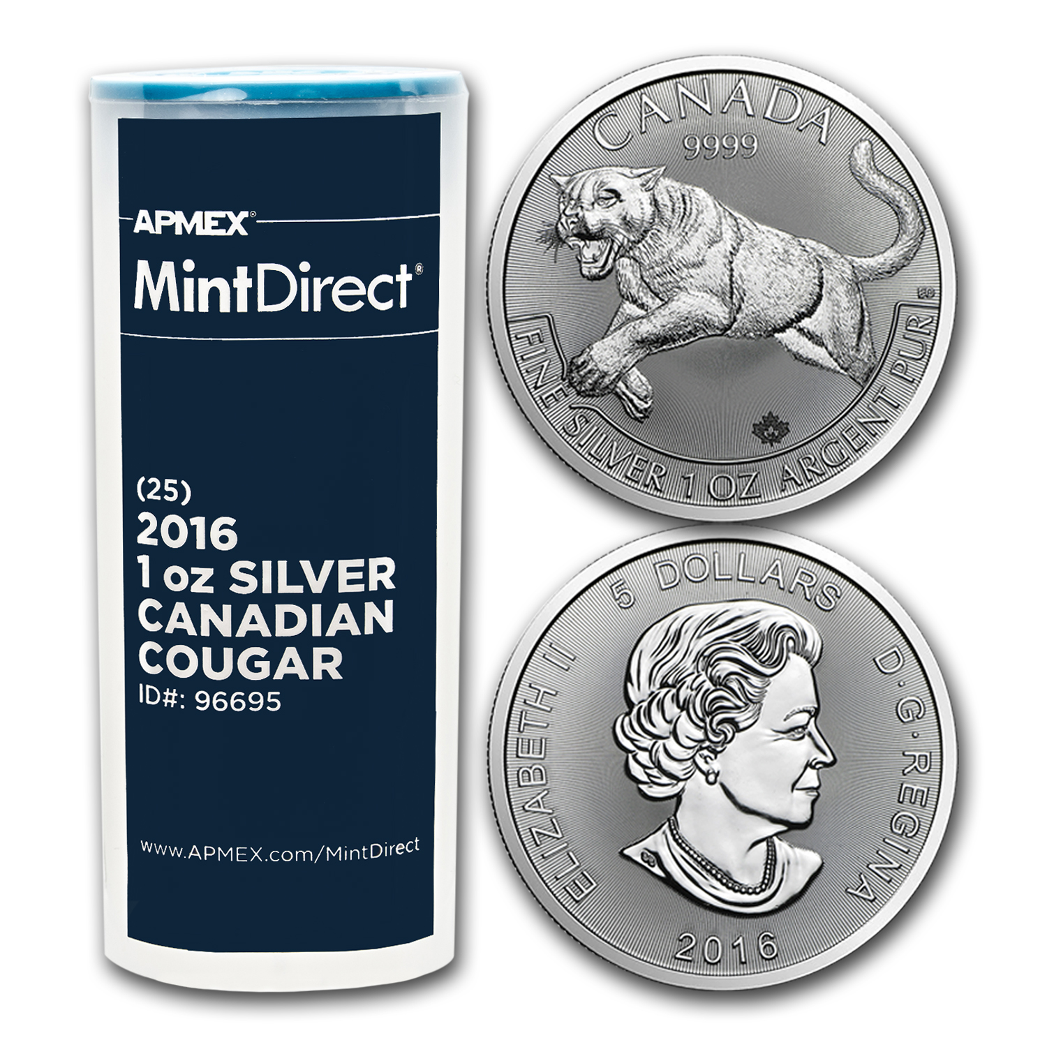 2016 Canada 1 oz Silver Cougar (25-Coin MintDirect® Tube)